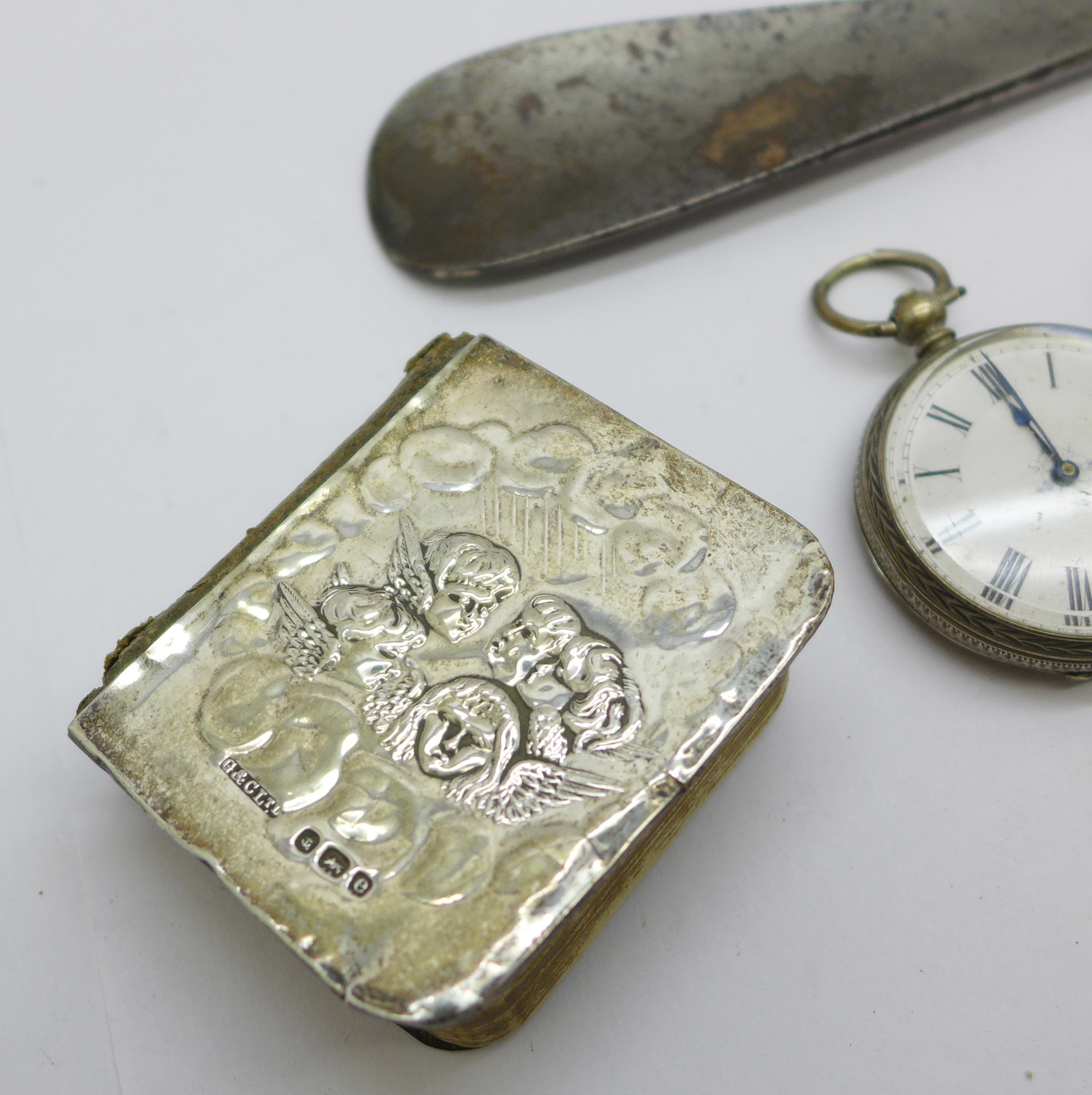 Silver items including a prayer book with Reynolds angels, a/f - Image 2 of 5