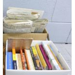 Two boxes of book related to geology and collection of ordnance survey maps, including local