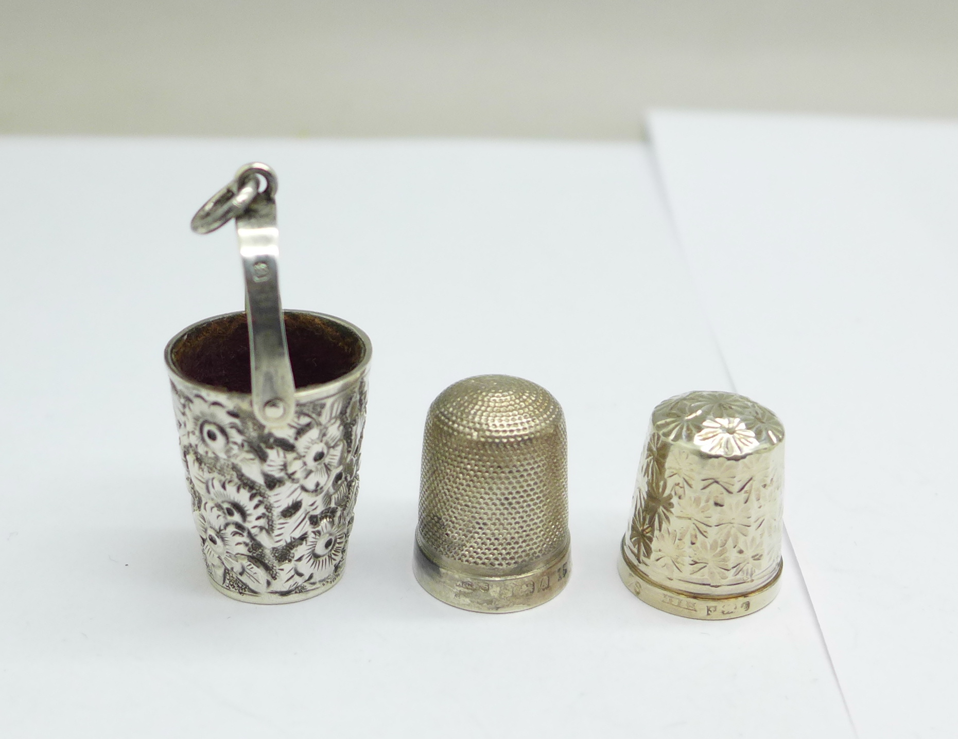 A Victorian silver thimble holder for a chatelaine in the form of a miniature bucket, by George