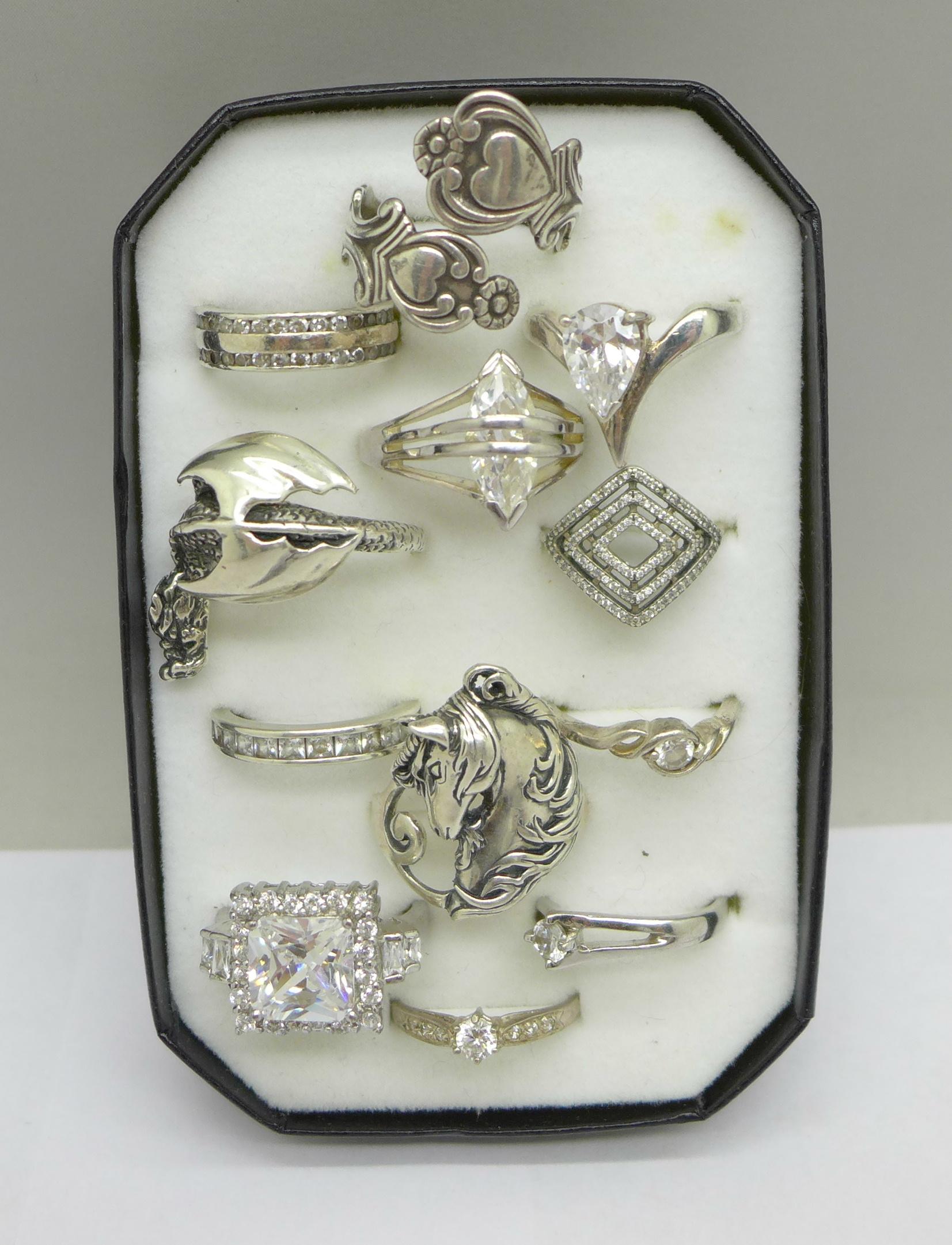 Twelve silver rings