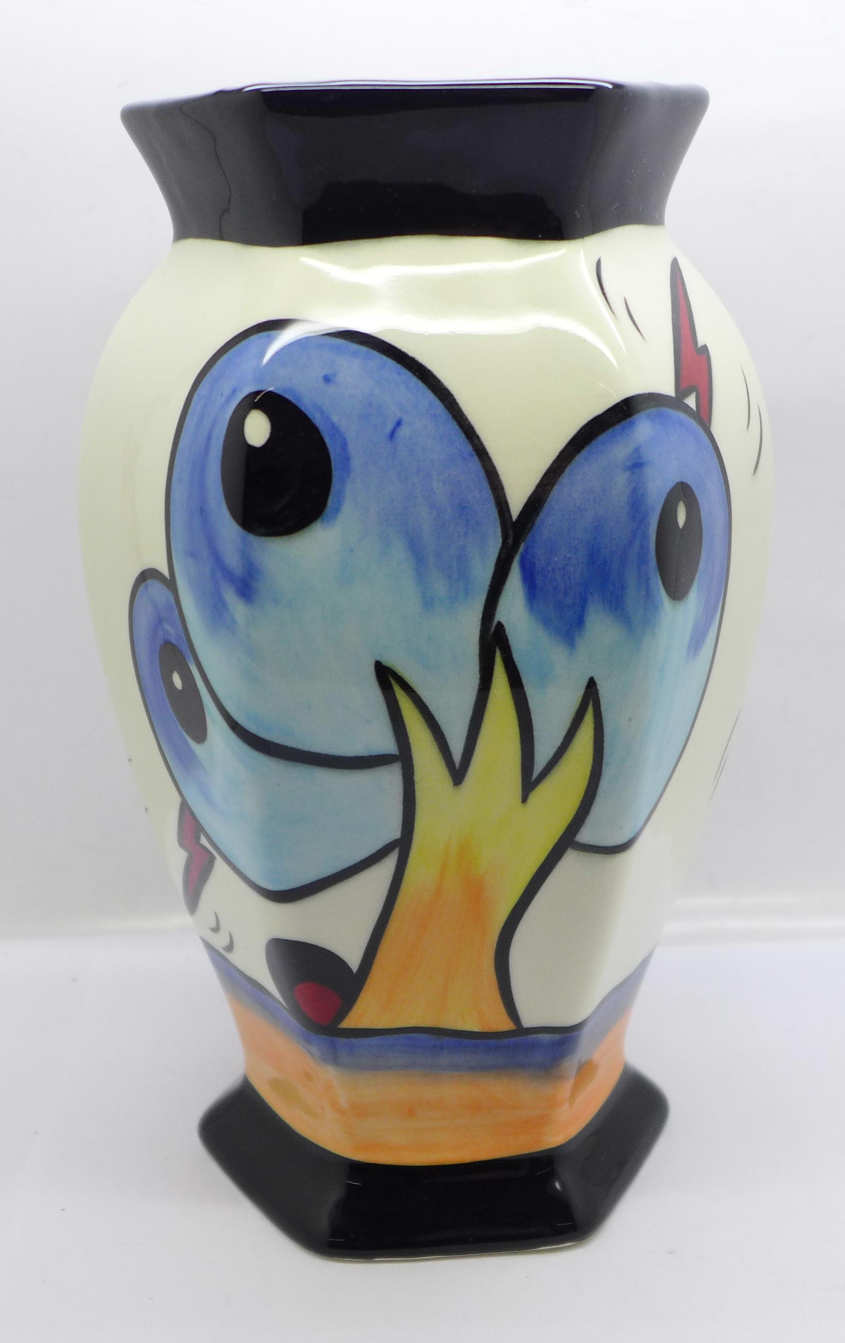 Lorna Bailey Pottery, hexagonal vase in the 'Bursley Way' design, 'Lorna Bailey' signature on the