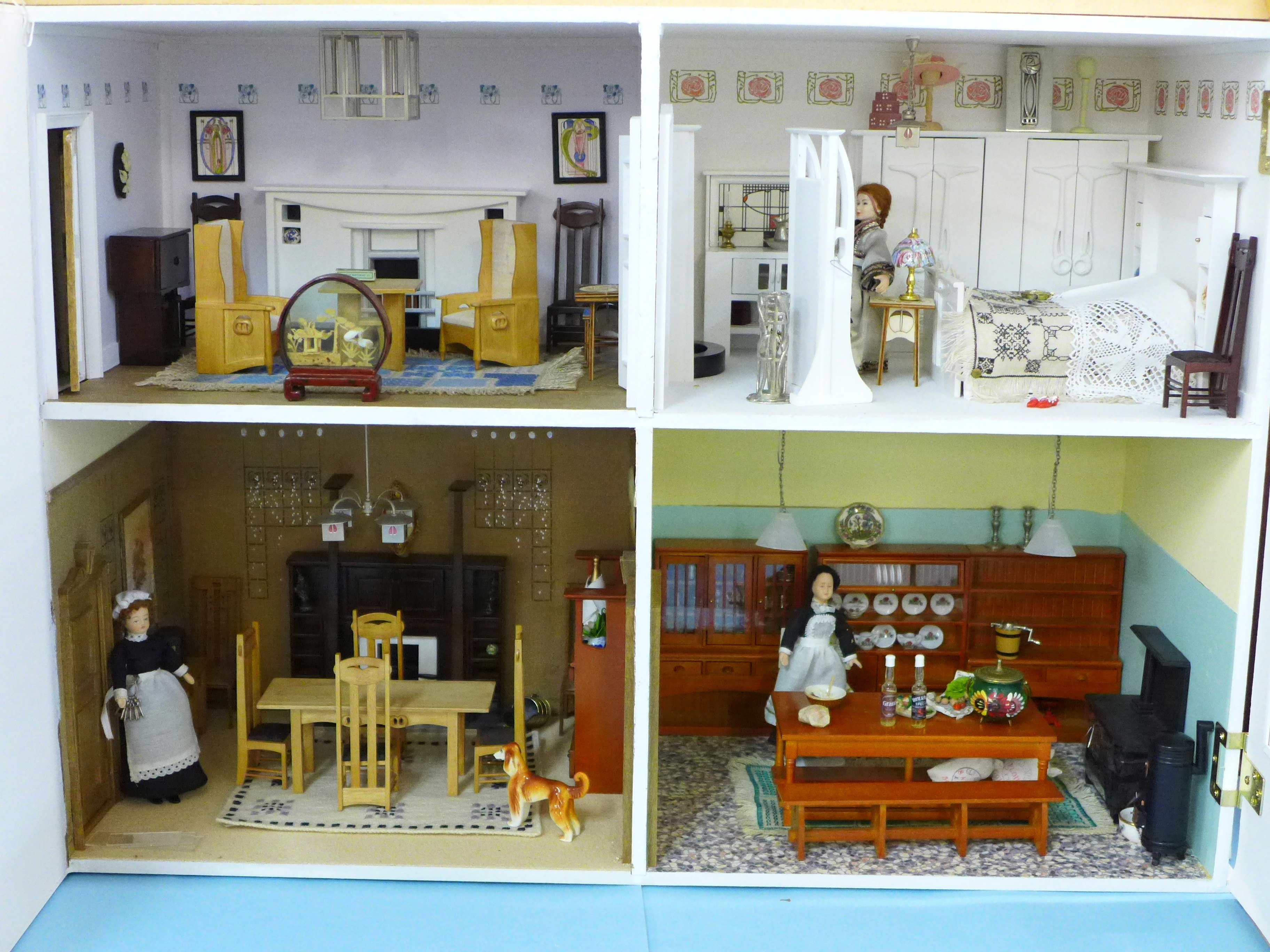 A Dolls House Emporiun Charles Rennie Makintosh-style Scottish House and Furniture. Assembled from a