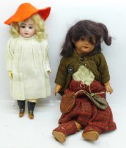 Two dolls, a bisque Armand Marseille and one smaller with open/close eyes and open mouth