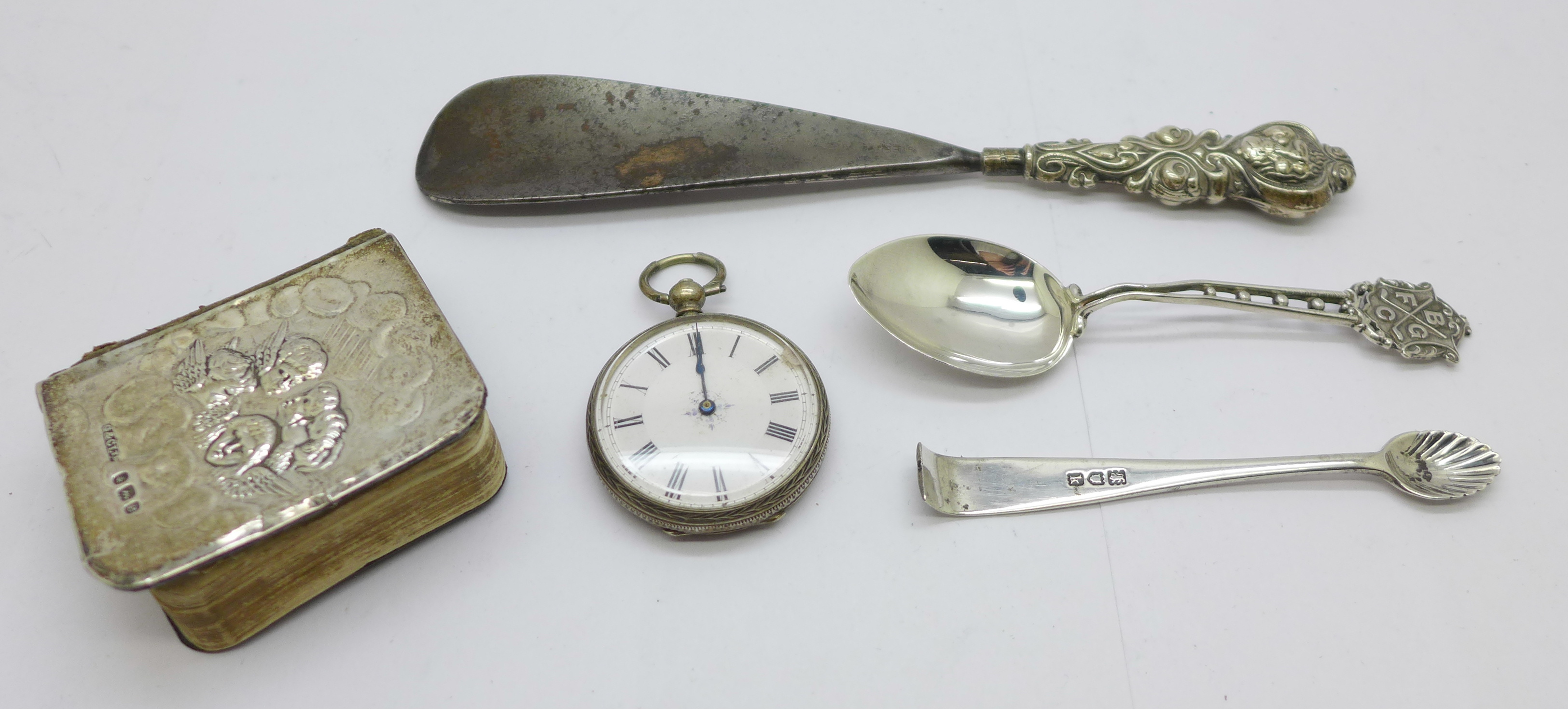 Silver items including a prayer book with Reynolds angels, a/f
