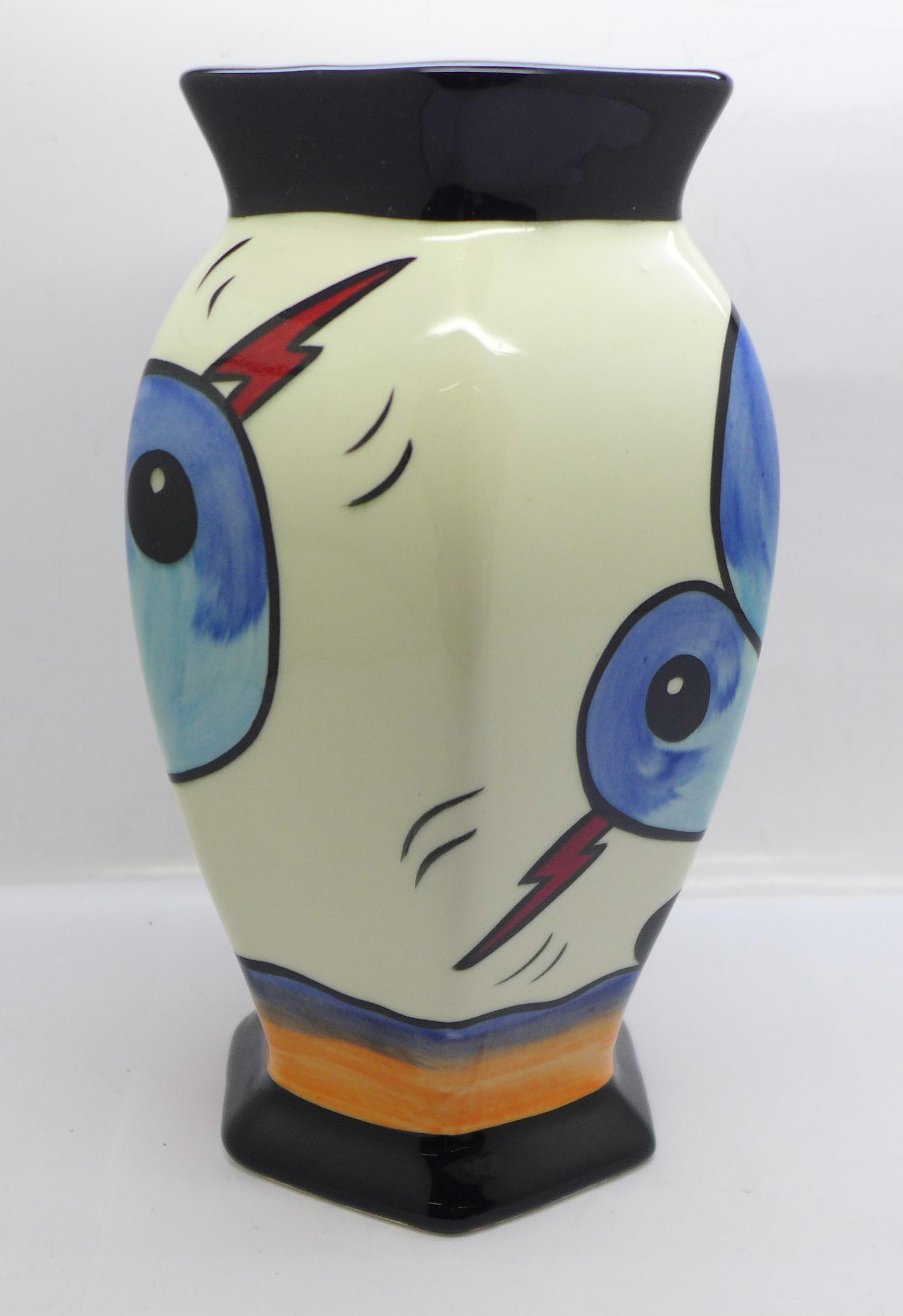Lorna Bailey Pottery, hexagonal vase in the 'Bursley Way' design, 'Lorna Bailey' signature on the - Image 2 of 5