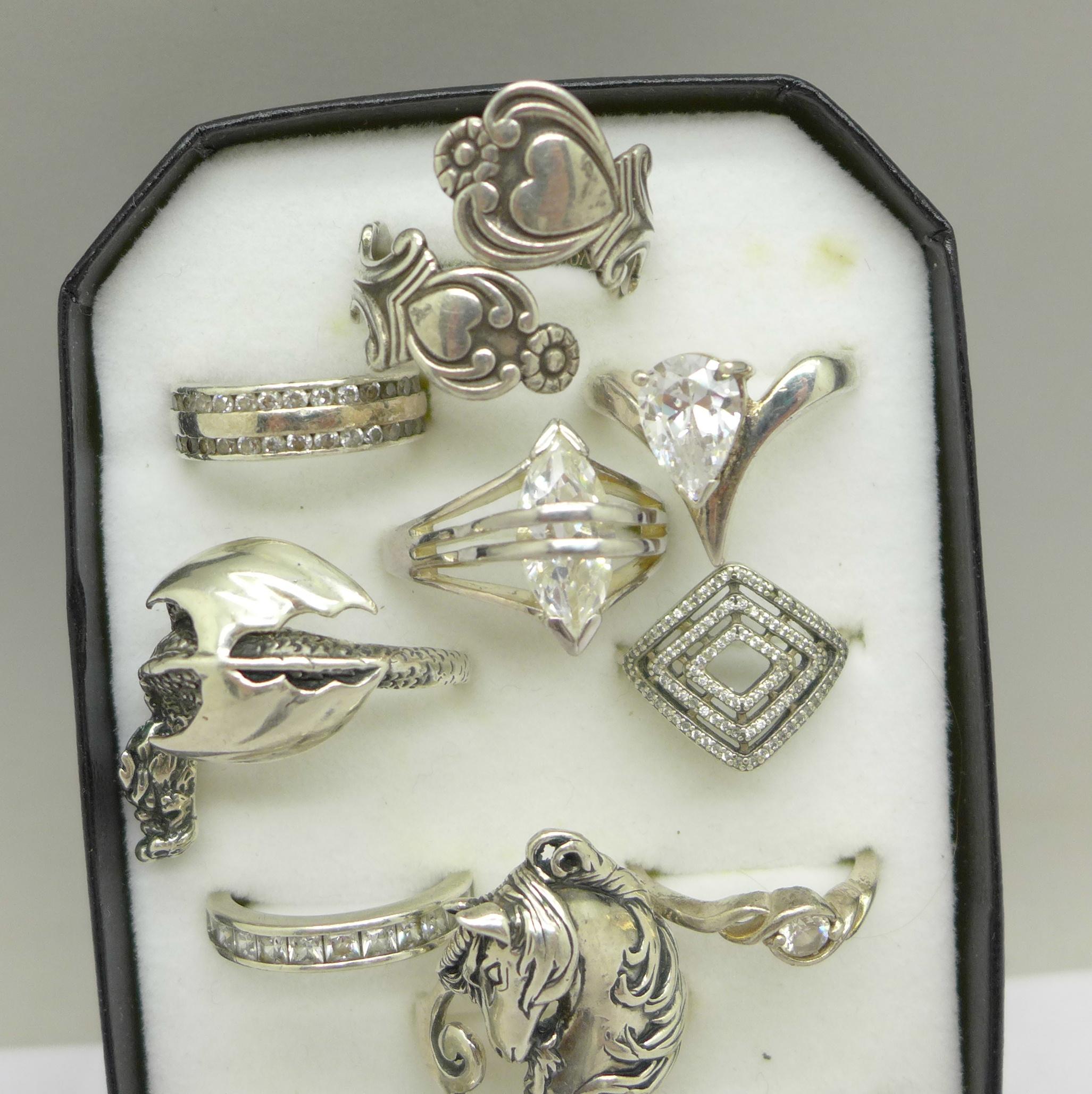 Twelve silver rings - Image 3 of 3