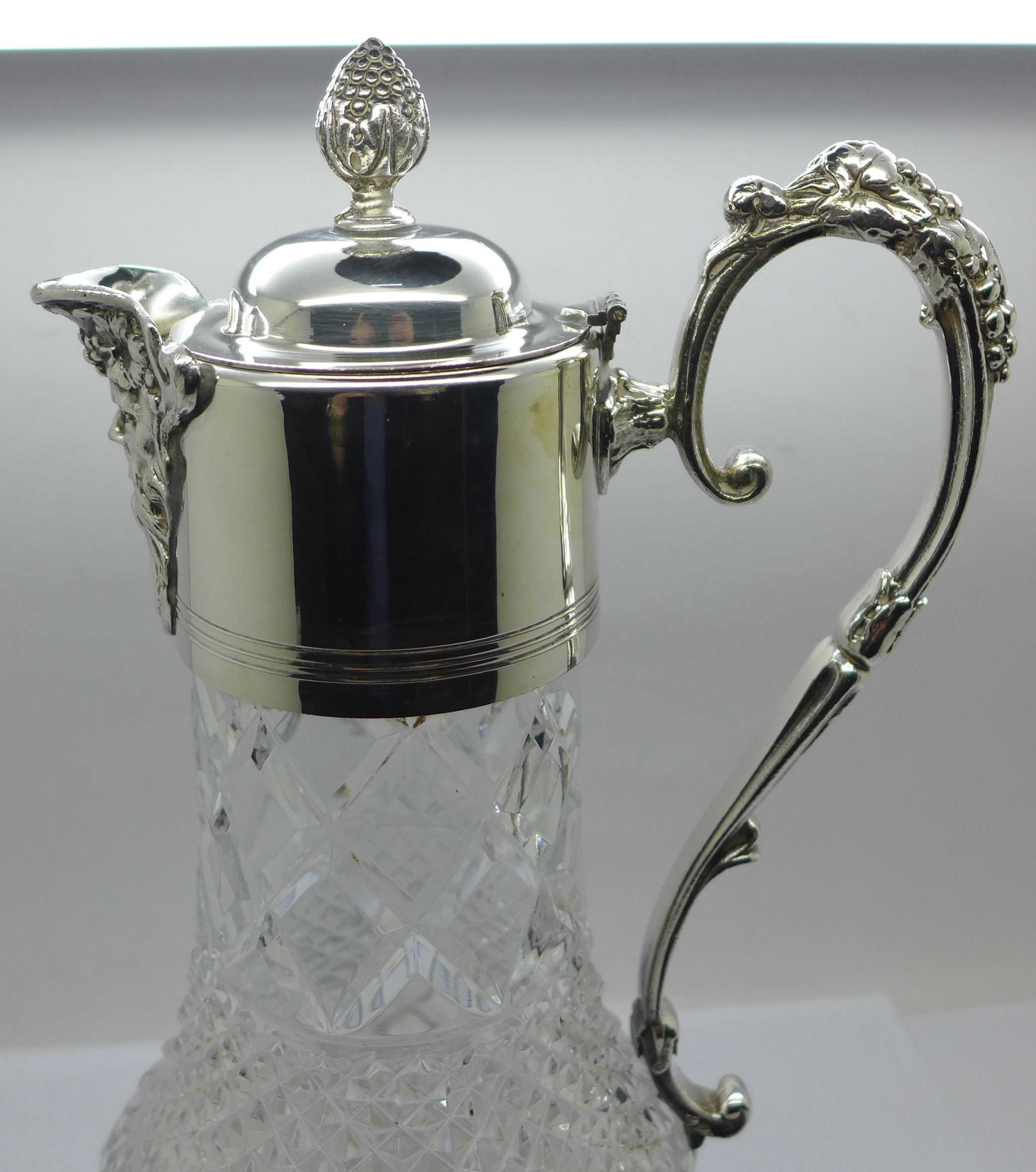 A white metal mounted glass claret jug, marked 999 on the handle and lid - Image 4 of 6