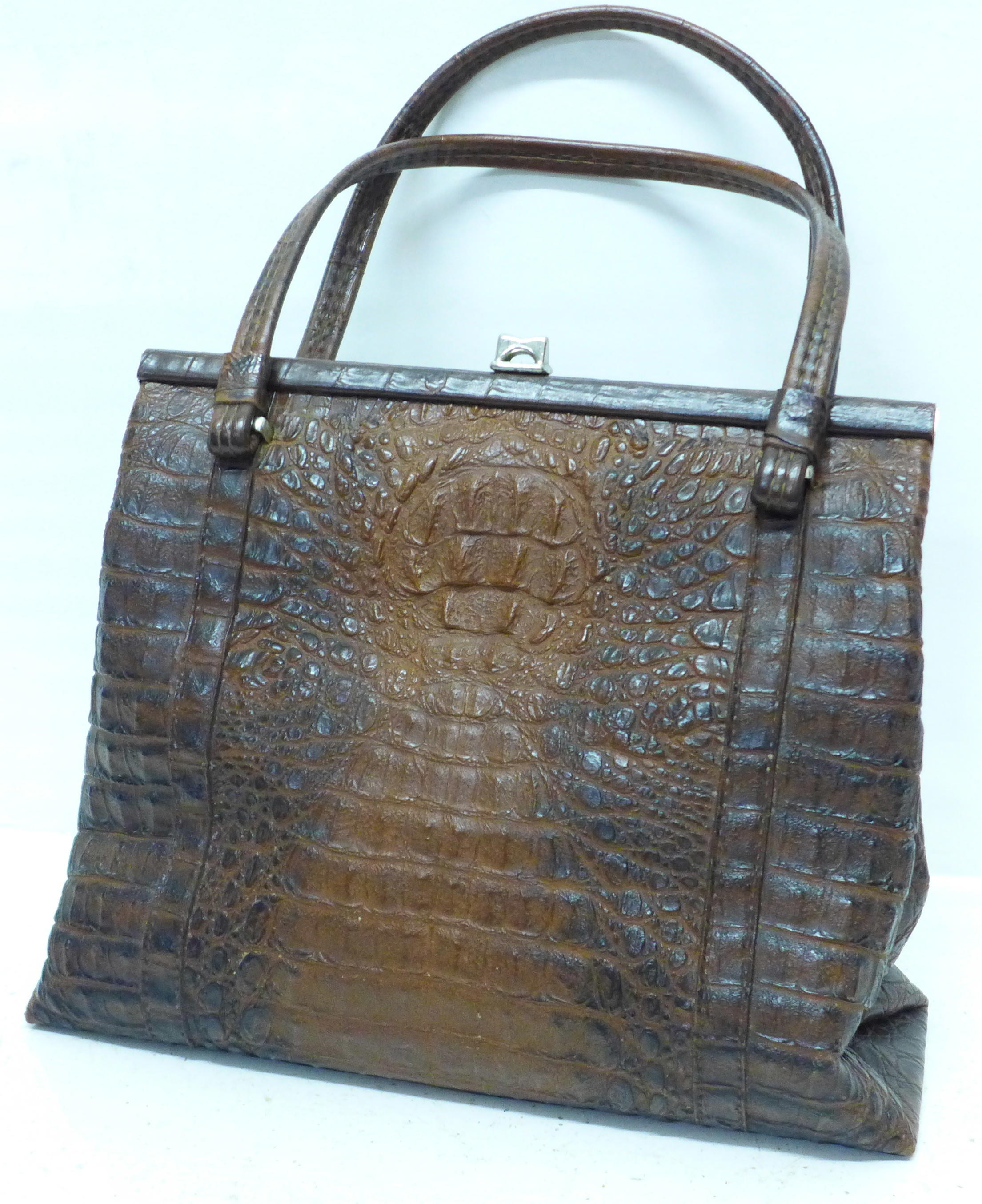 A Rieke vintage faux crocodile skin handbag