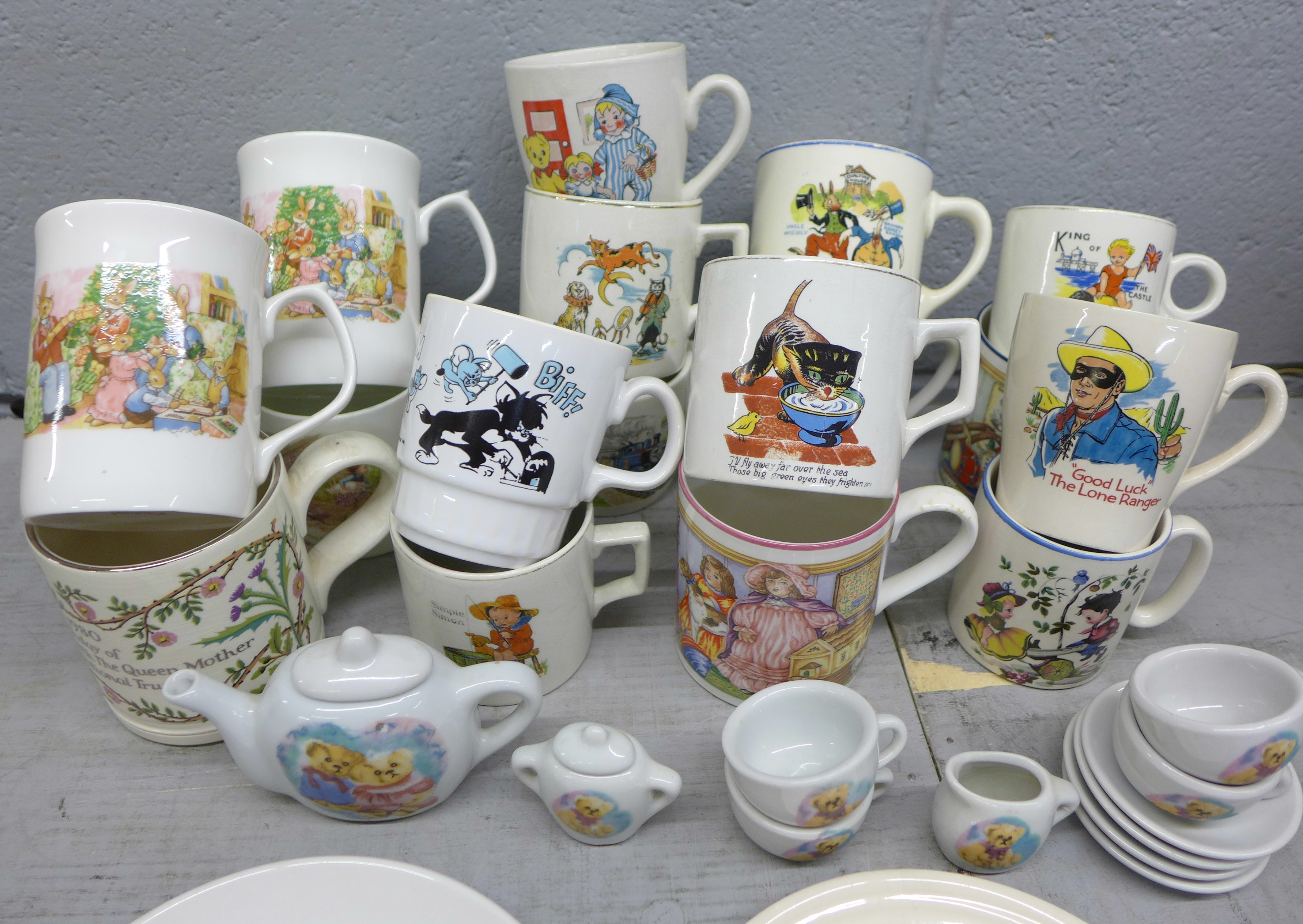 An assortment of childrens mugs, plates, a toy tea set and a Boncath pottery Queen Elizabeth 80th - Image 2 of 3