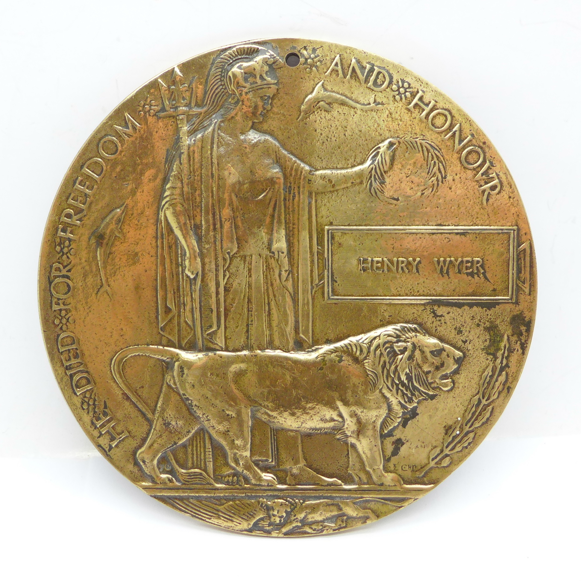 A WWI death plaque to Henry Wyer, a/f (drilled)