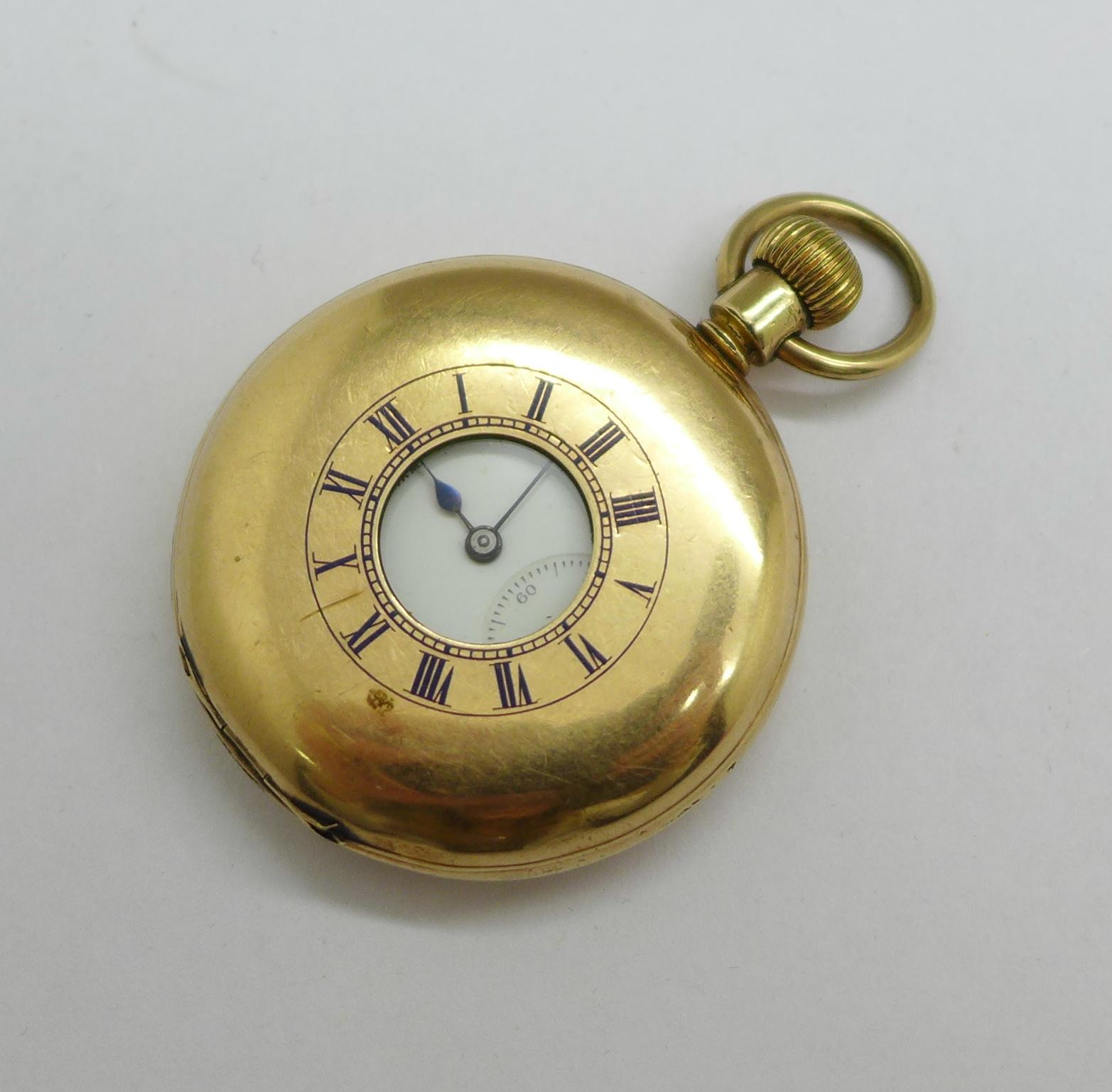 A Waltham gold plated half-hunter pocket watch, 4cm case