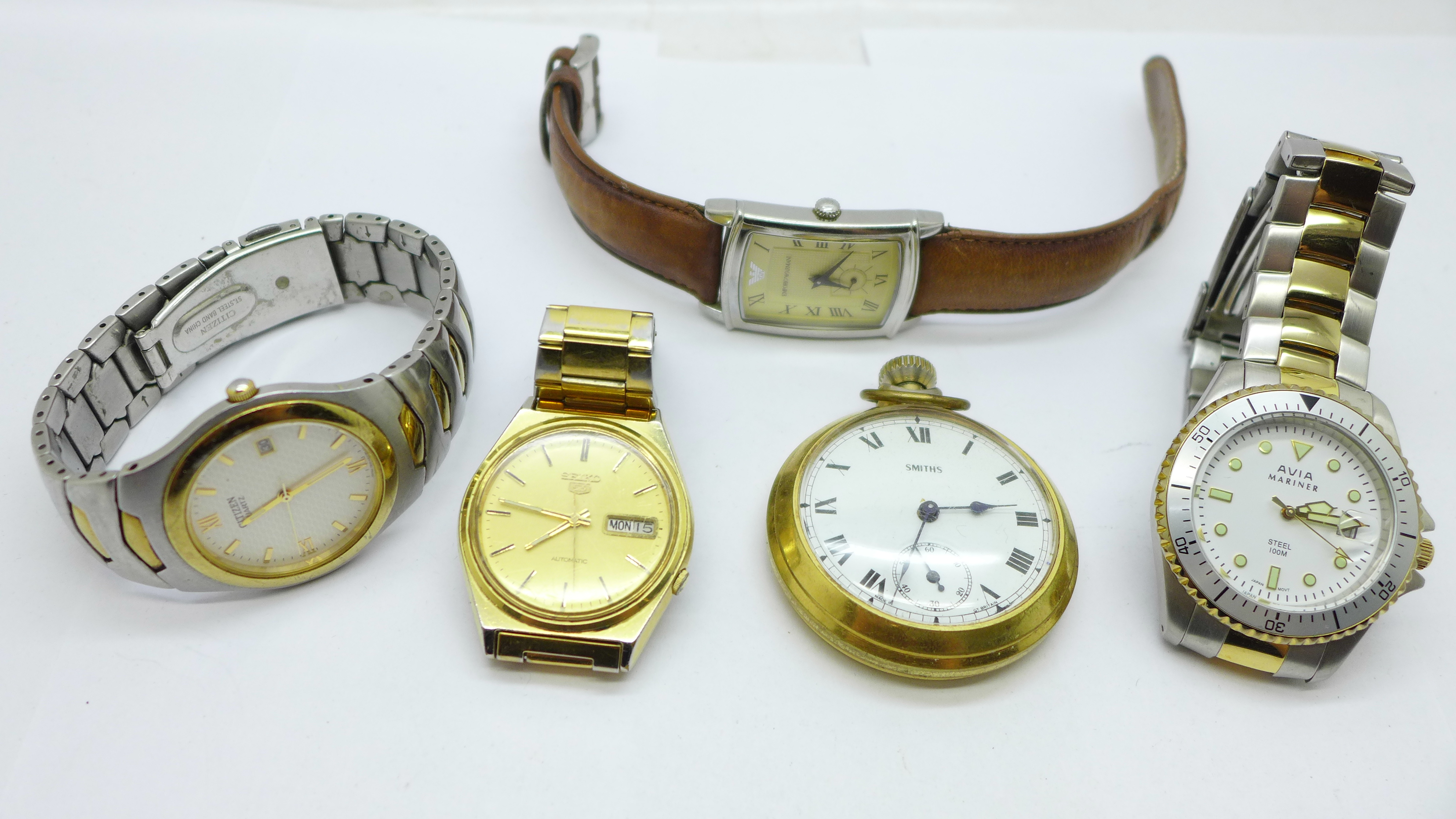 A collection of watches and a pocket watch including Seiko, Avia, Citizen, Emporio Armani and Smiths
