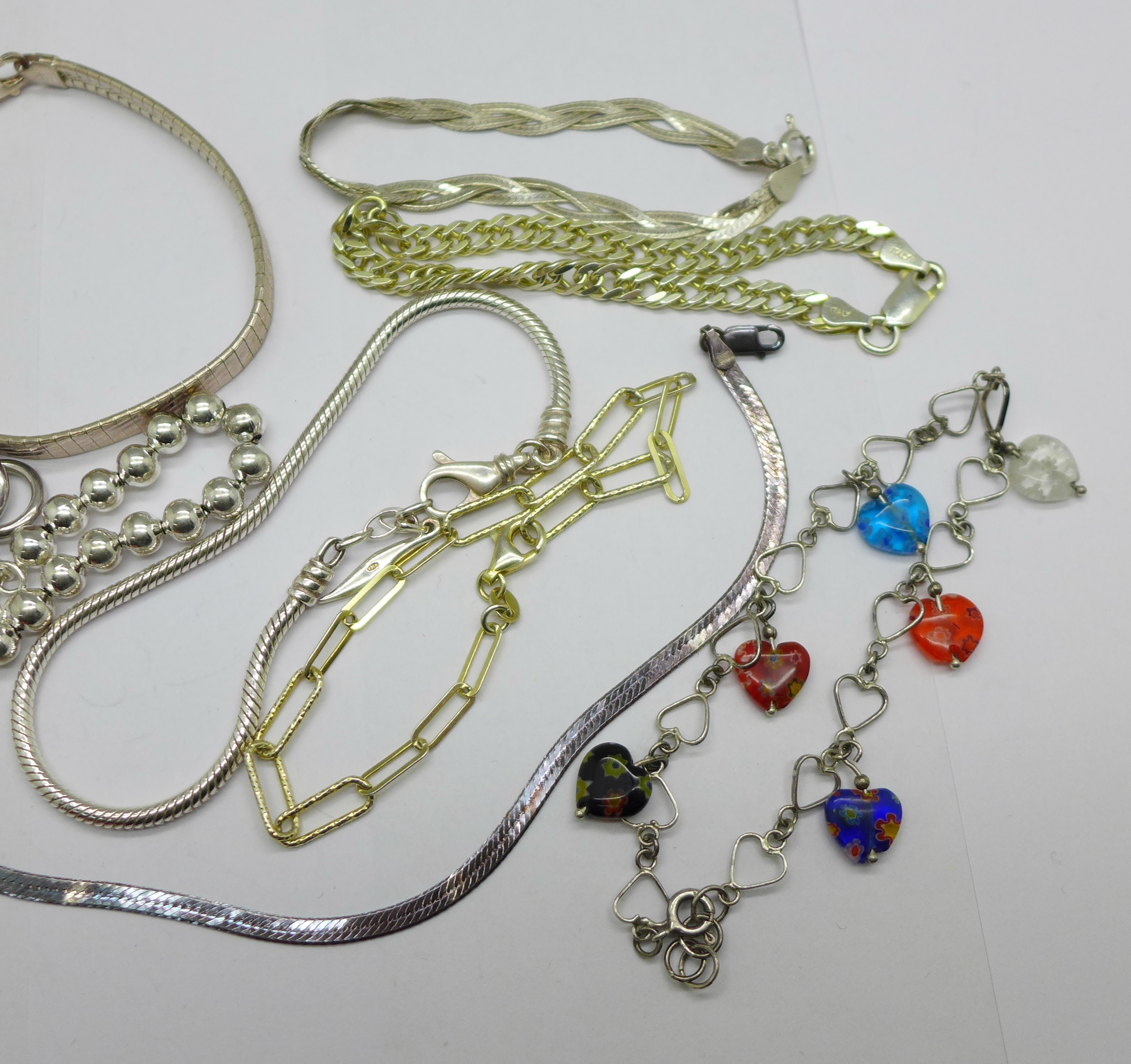 Ten silver bracelets and a silver necklace, 95g - Image 3 of 3
