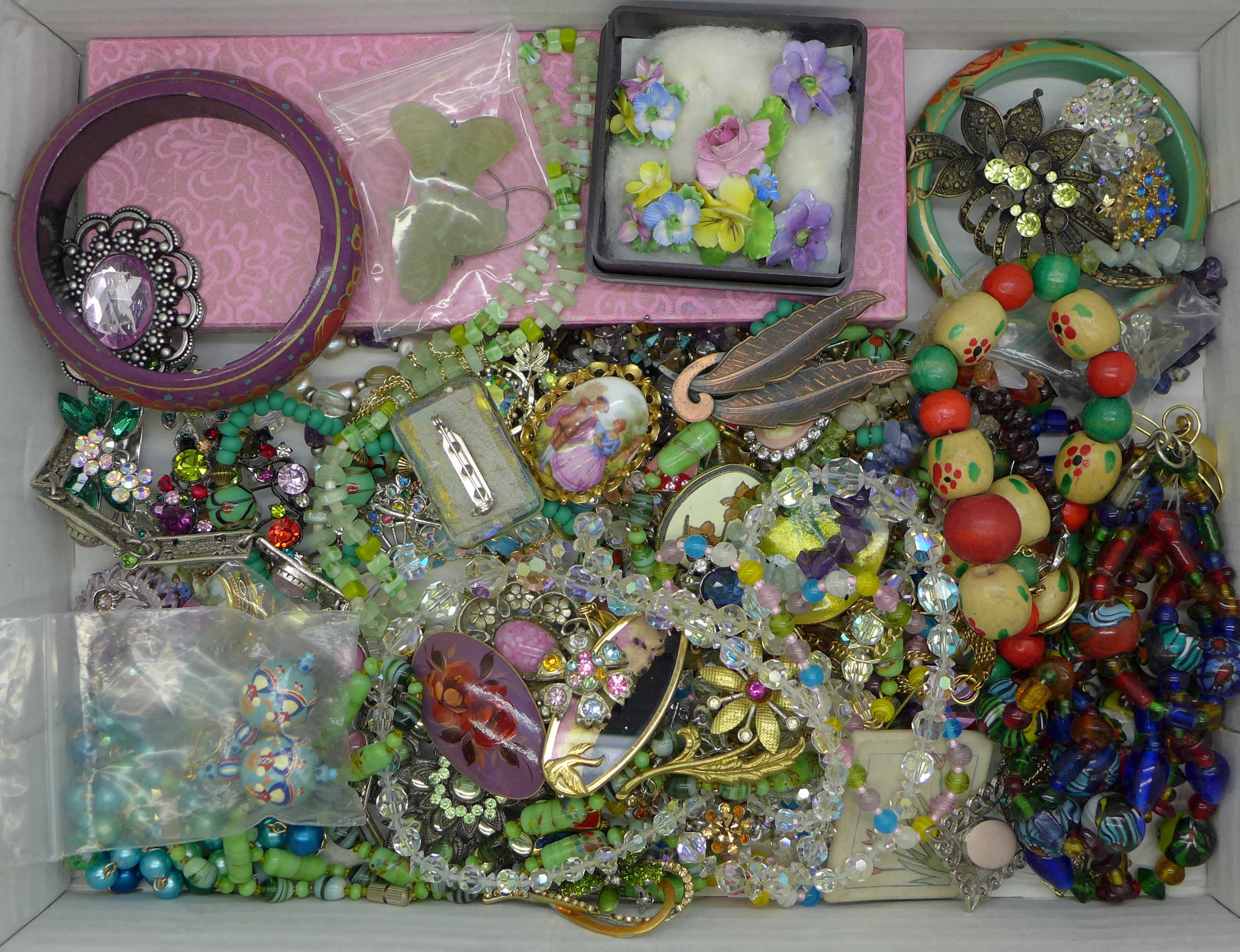 Glass and crystal bead necklaces, earrings, brooches and other costume jewellery