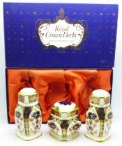 A Royal Crown Derby Imari pattern cruet set, boxed
