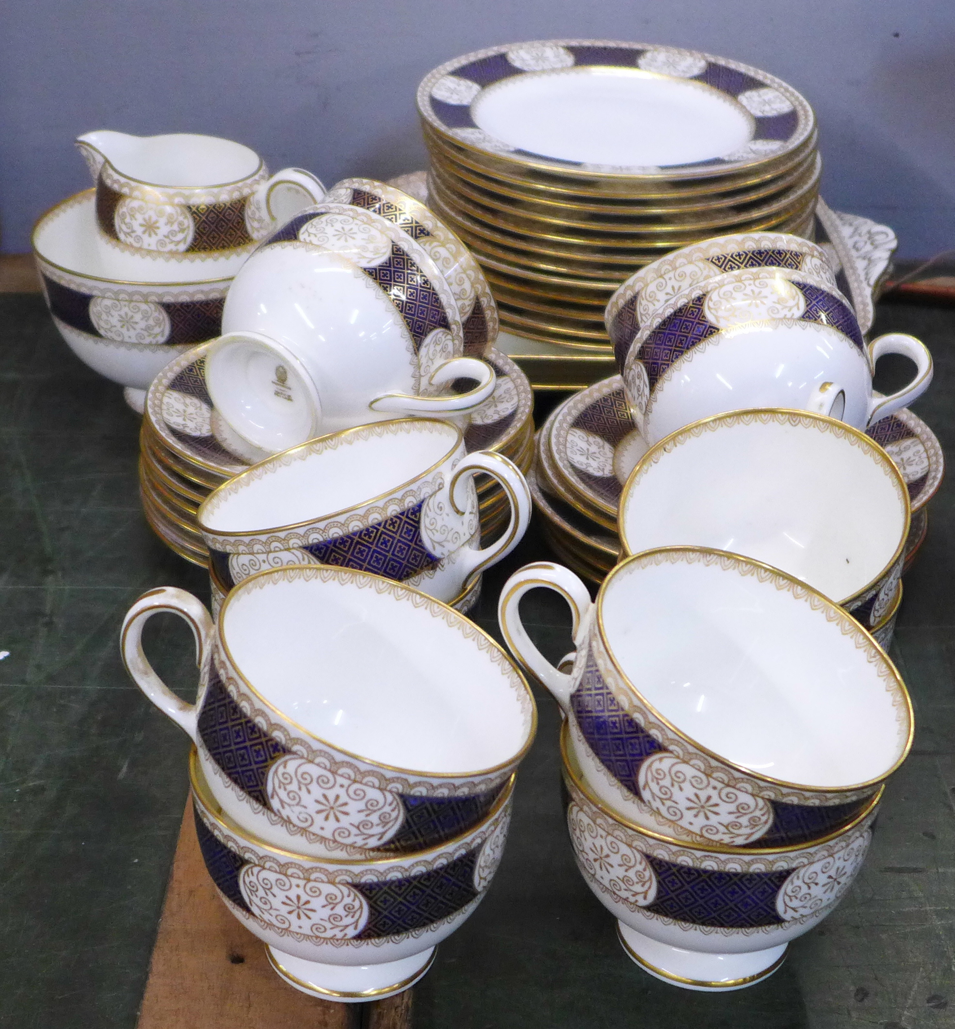 A twelve piece gilt Wedgwood tea service