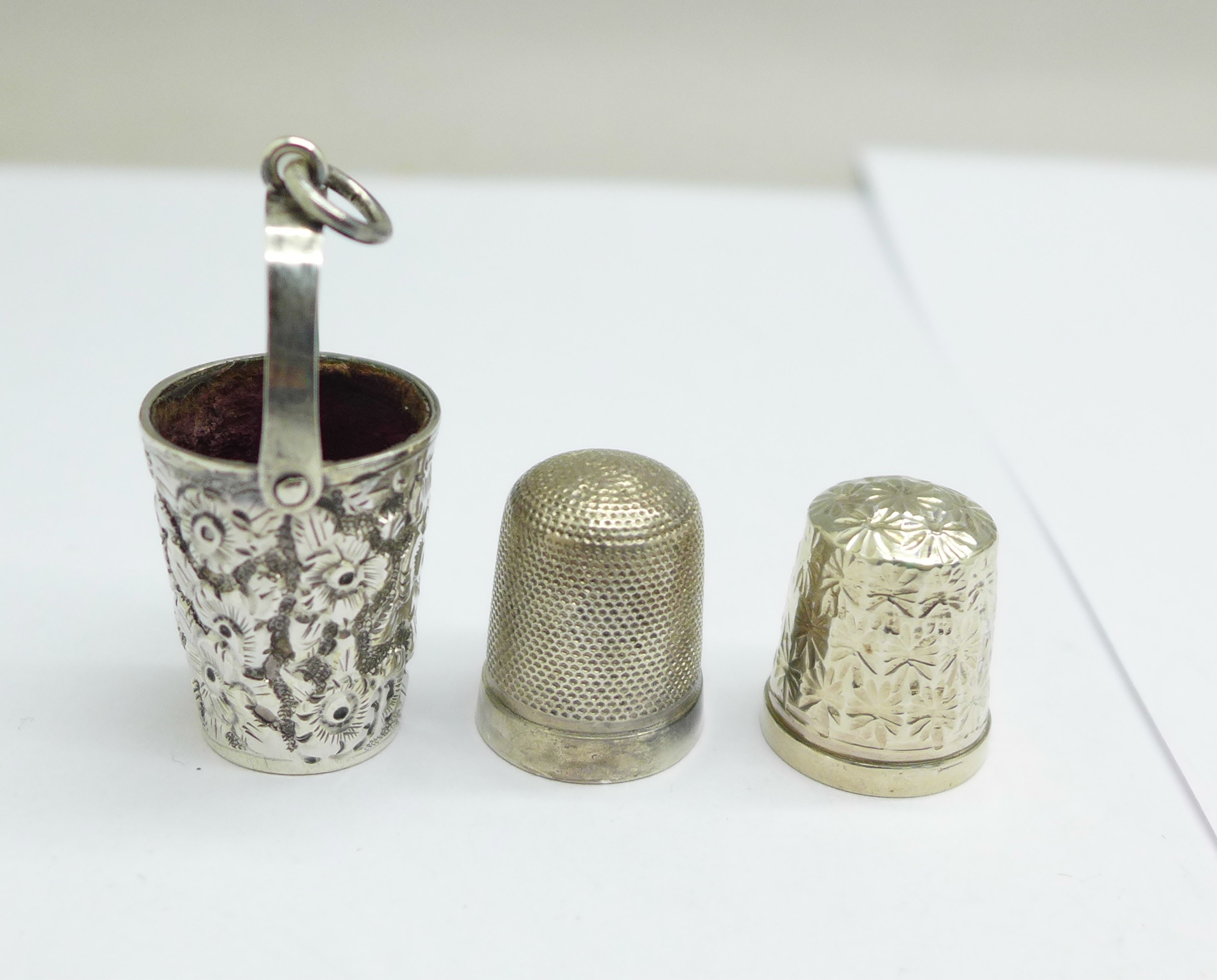 A Victorian silver thimble holder for a chatelaine in the form of a miniature bucket, by George - Image 2 of 2