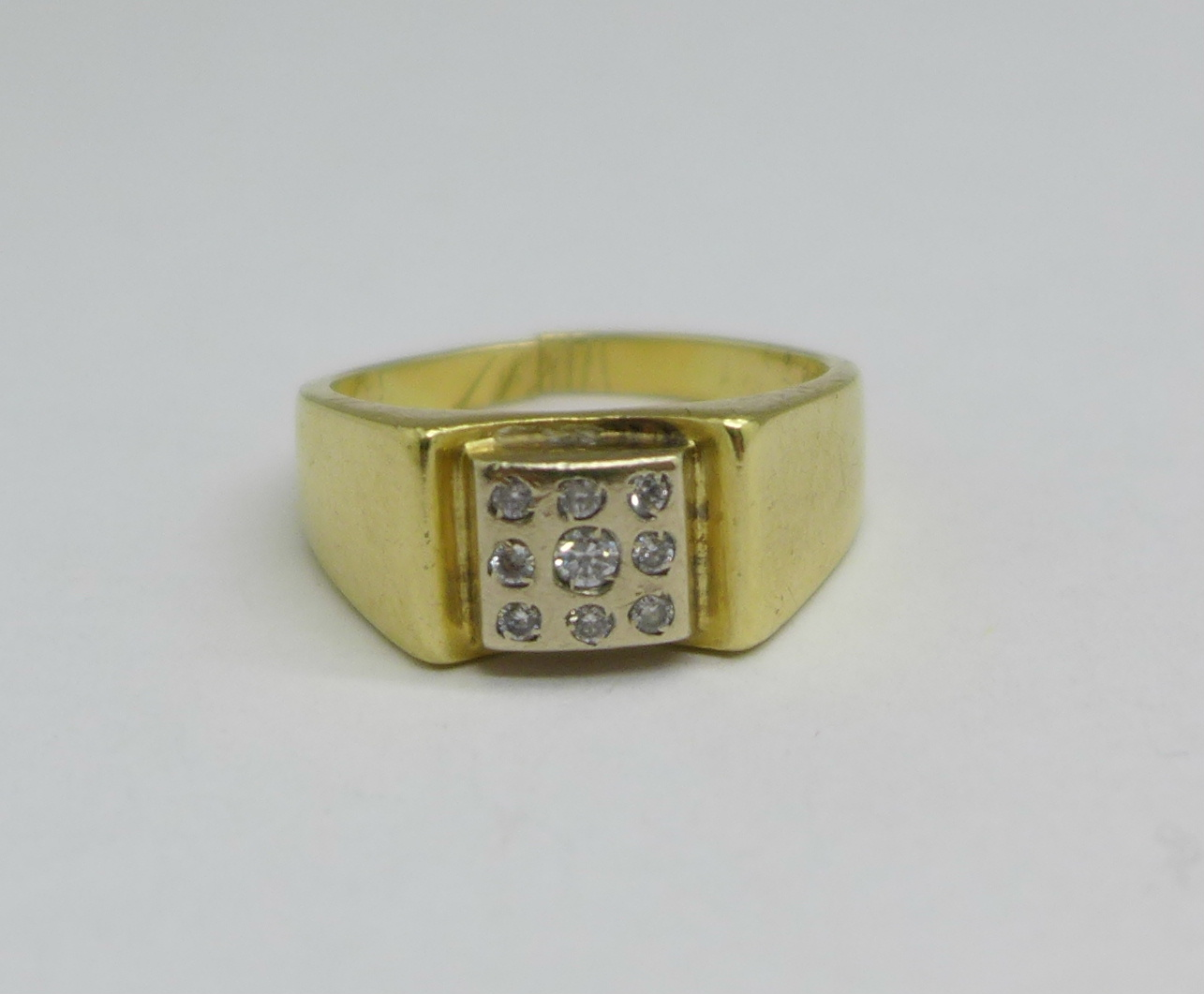 A 14ct gold and white stone ring, 7.9g, shank a/f