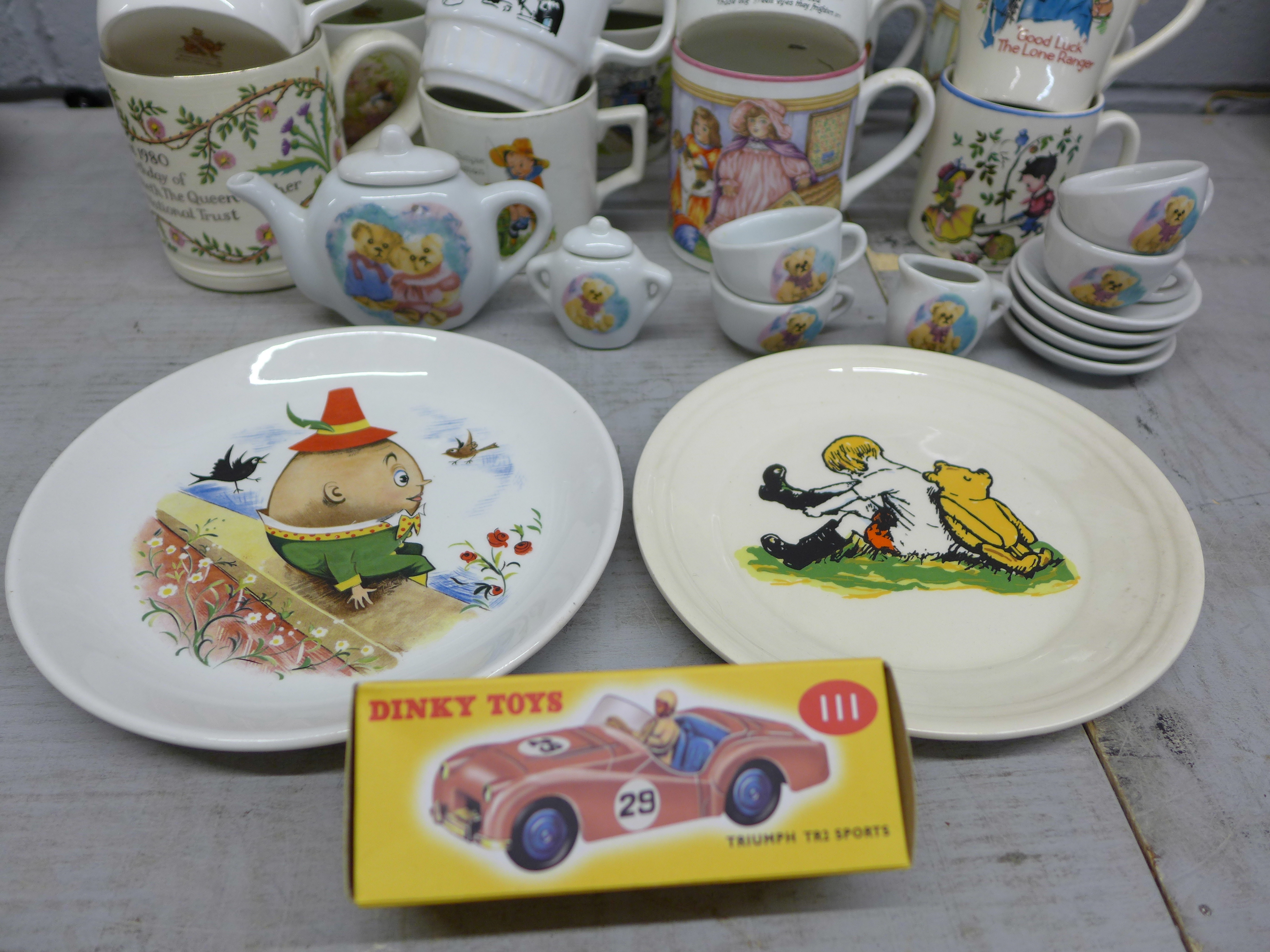 An assortment of childrens mugs, plates, a toy tea set and a Boncath pottery Queen Elizabeth 80th - Image 3 of 3