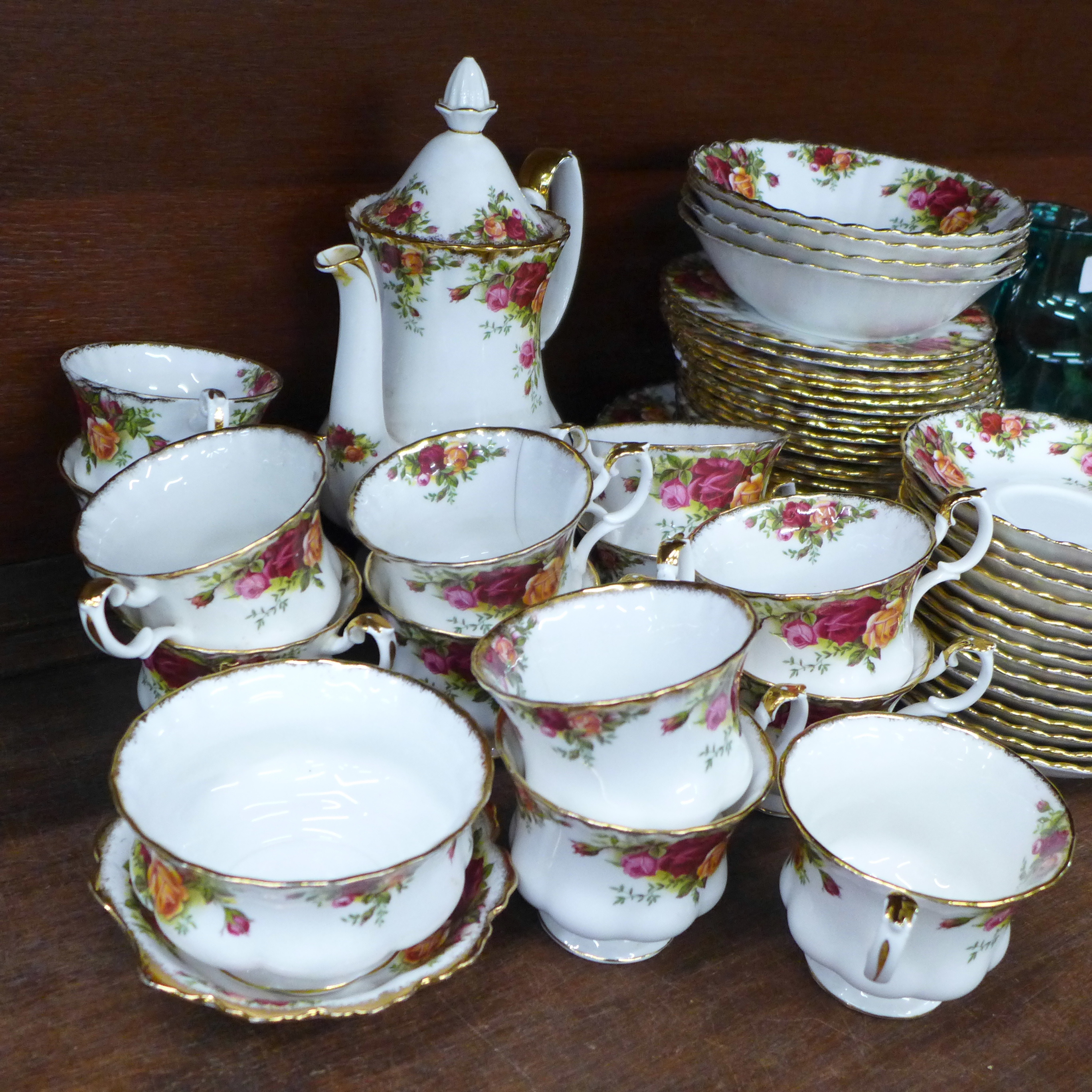 Royal Albert Old Country Roses china:- coffee pot, thirteen cups, fourteen saucers, eighteen side - Image 3 of 7