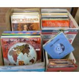 Three boxes of LP records and a box of 45RPM vinyl singles, mainly 1970's **PLEASE NOTE THIS LOT