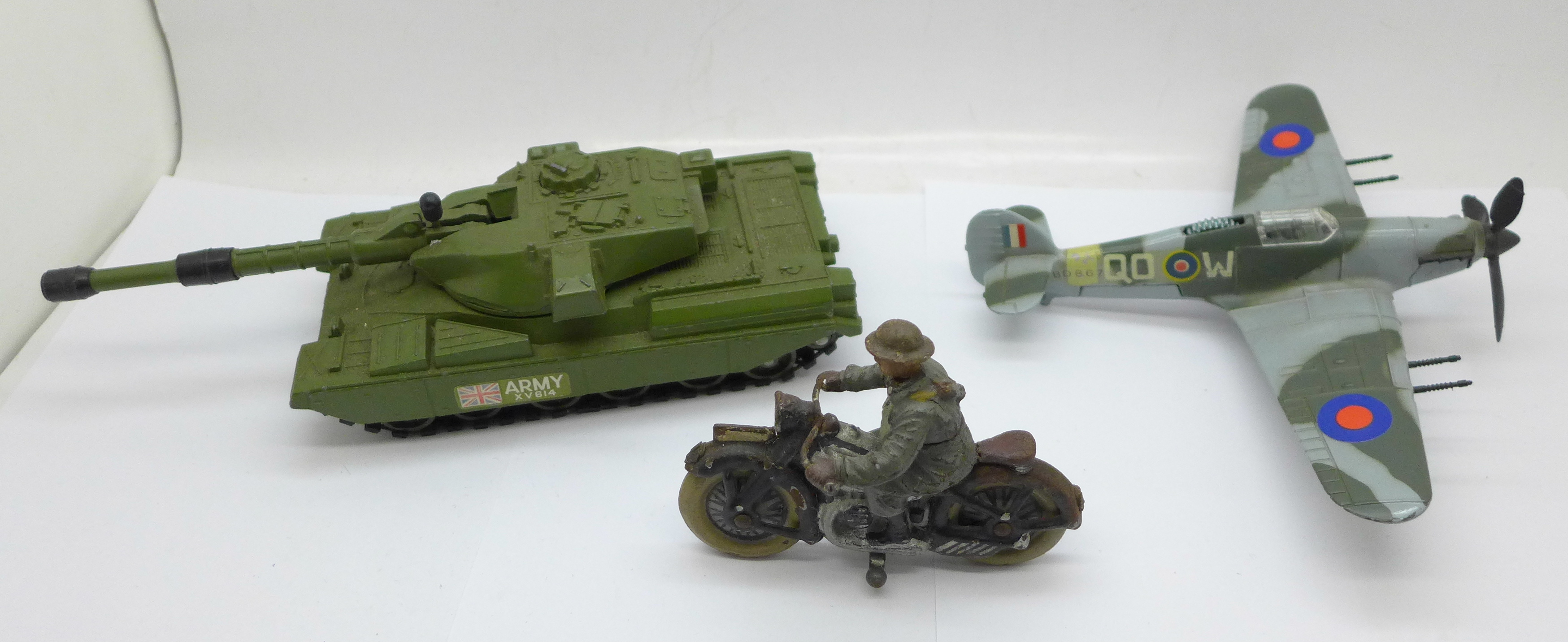 Two Dinky Toys; Chieftan Tank and Hawker Hurricane MKII C and an Elastolin and tinplate motorcycle - Image 2 of 4