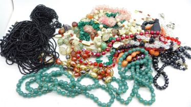Gemstone and glass bead necklaces