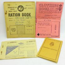 Ration books (petrol, clothes, food) and a 1955 driving license