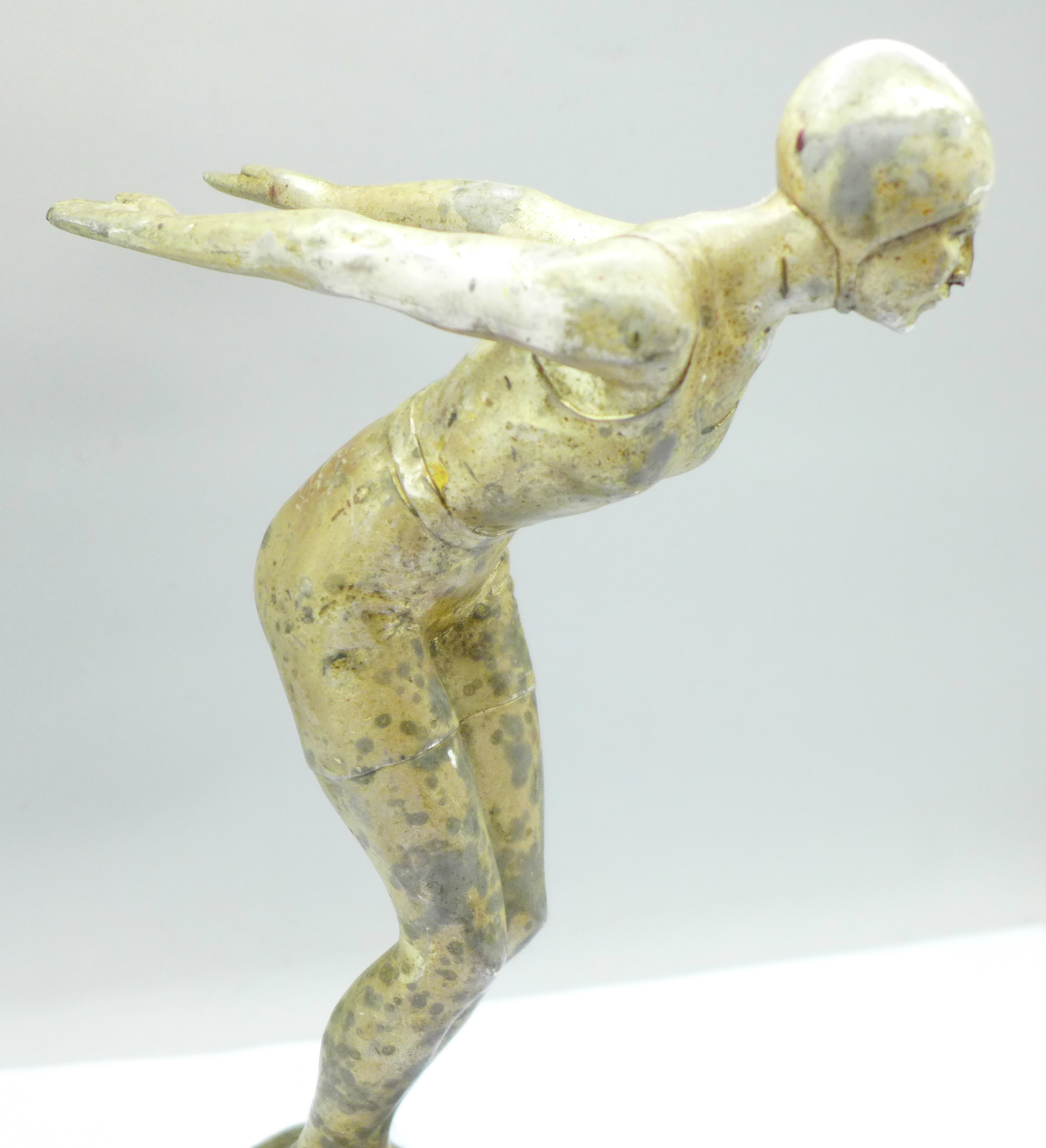 An Art Deco cast metal figure of a female swimmer, 24.5cm - Image 2 of 5