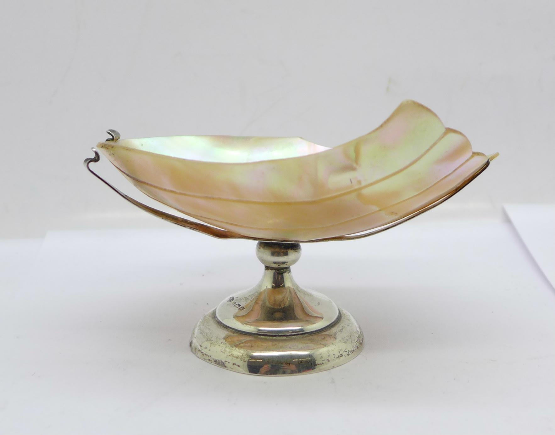 A silver and pearl bon-bon dish, a/f