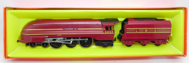 Tri-ang Hornby No. R871 LMS 7P 4-6-2 maroon King George VI loco and tender
