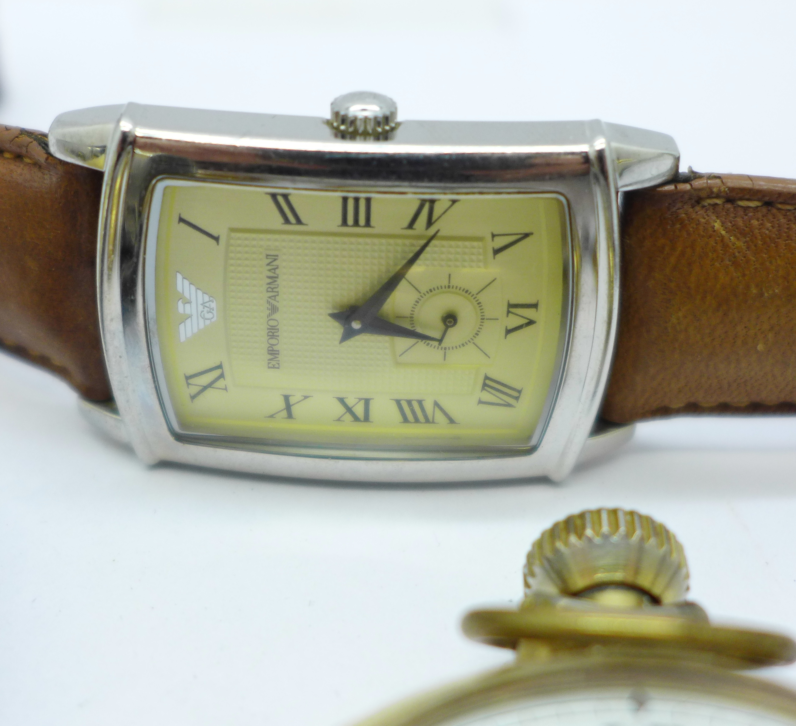 A collection of watches and a pocket watch including Seiko, Avia, Citizen, Emporio Armani and Smiths - Image 3 of 5