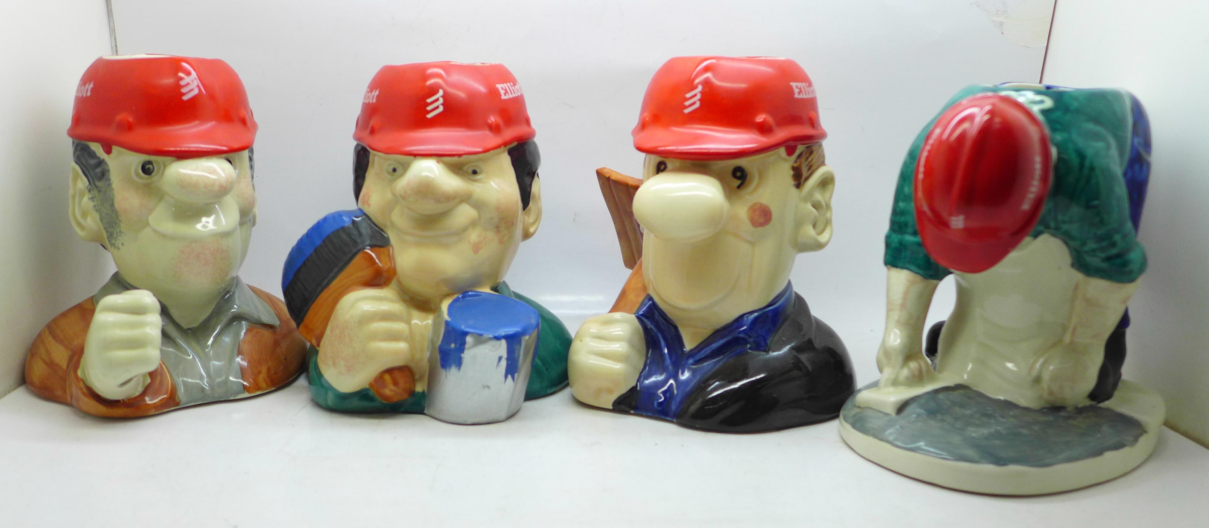 Four Elliott Toby jugs, 'The Builders'