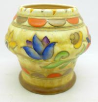 A Charlotte Rhead Mexican Ware patterned vase for Crown Ducal