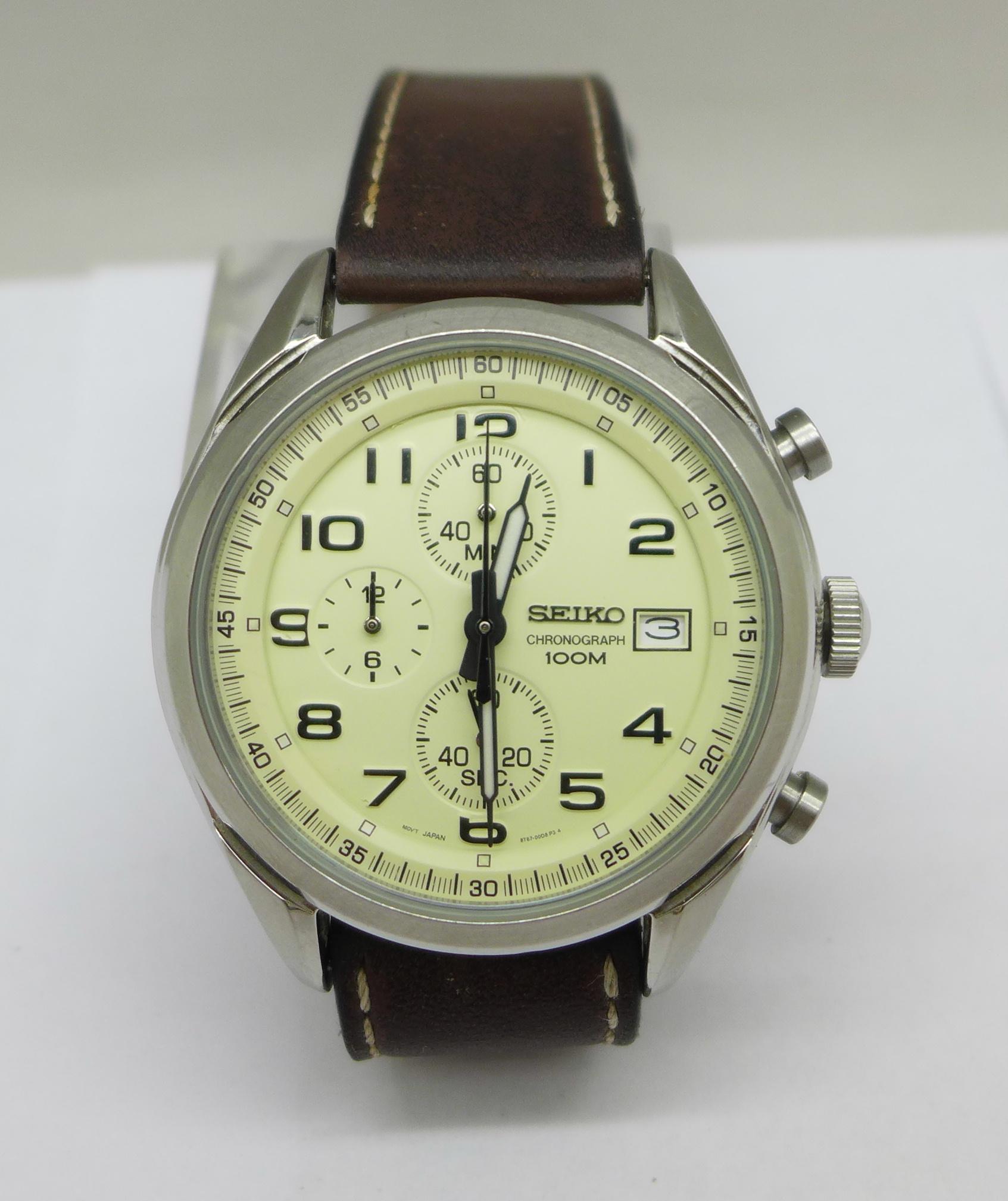 A Seiko chronograph wristwatch