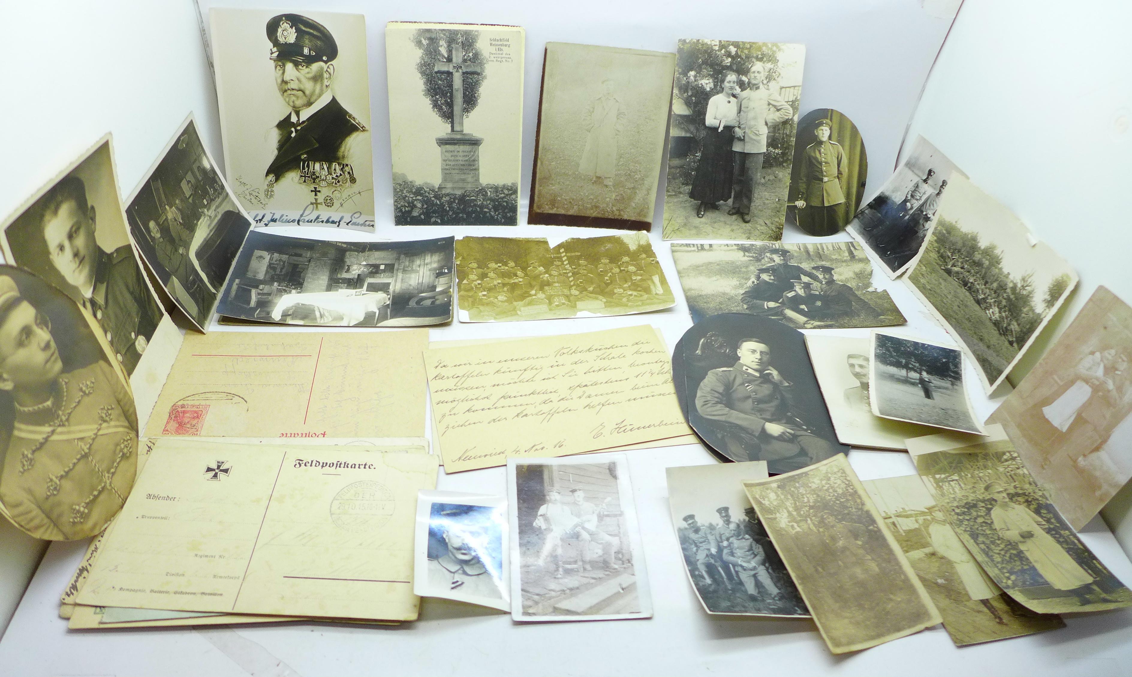 Seventeen WWI German photographs and twenty-two postcards