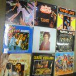 Forty-six LP records, Genesis, Phil Collins, Rod Stewart, Bryan Ferry, etc.