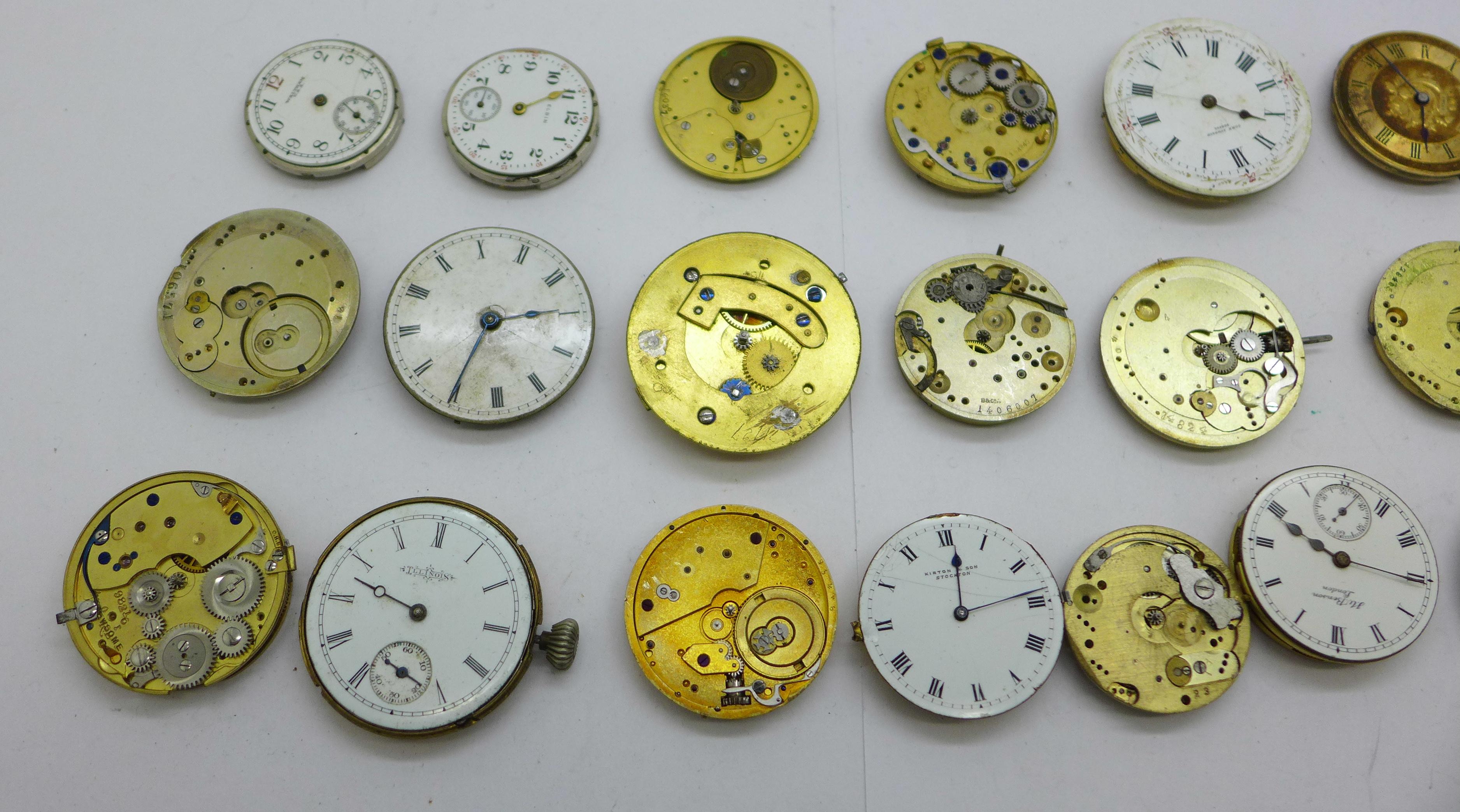 Twenty-five wristwatch, fob and pocket watch movements, Elgin, JW Benson, Waltham, etc. - Image 2 of 4