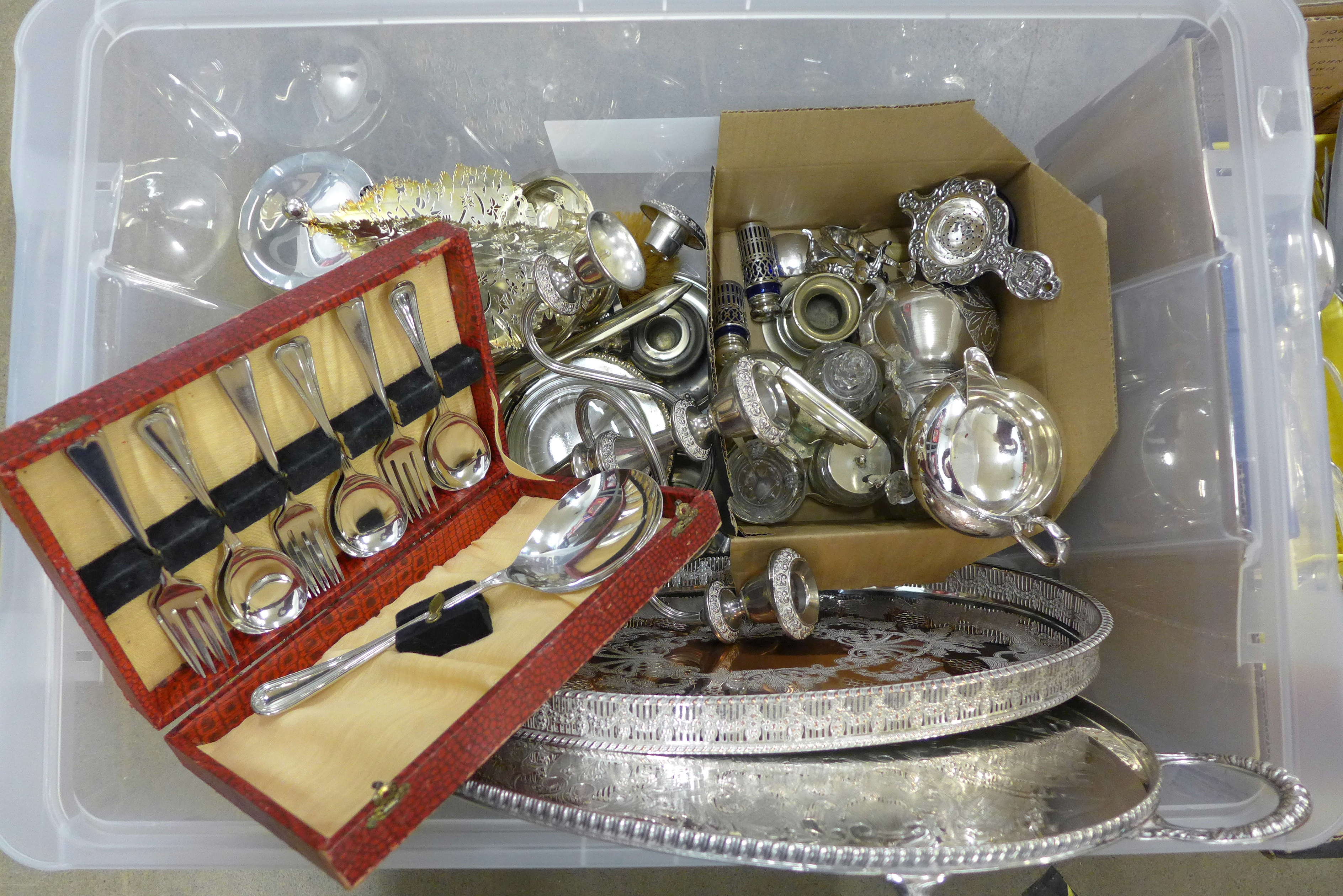 Two boxes of mixed silver plate, two trays, Christmas tree candle holder, vanity set, two chamber - Image 2 of 3