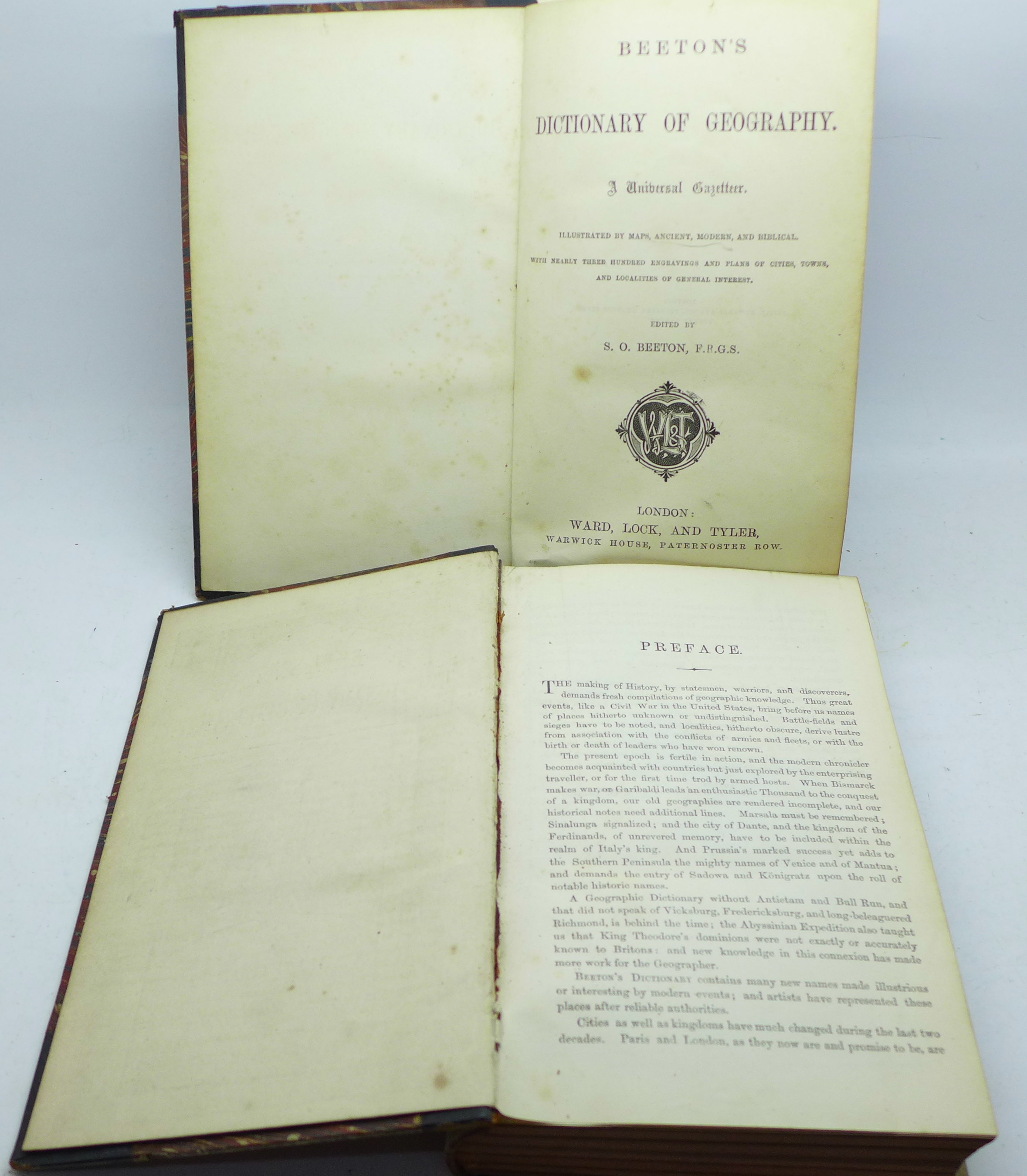 Two volumes, Beeton's Dictionary of Geography, printed by Savill, Edwards & Co., circa 1869, with
