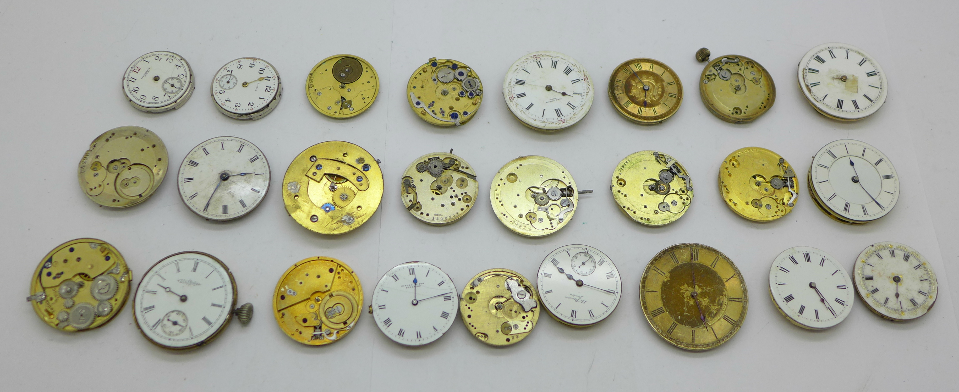 Twenty-five wristwatch, fob and pocket watch movements, Elgin, JW Benson, Waltham, etc.