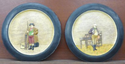 A pair of large Bretby Dickens plaques, 37.5cm