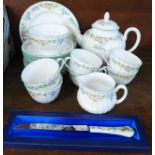 A Royal Worcester English Garden tea set and a boxed Aynsley knife
