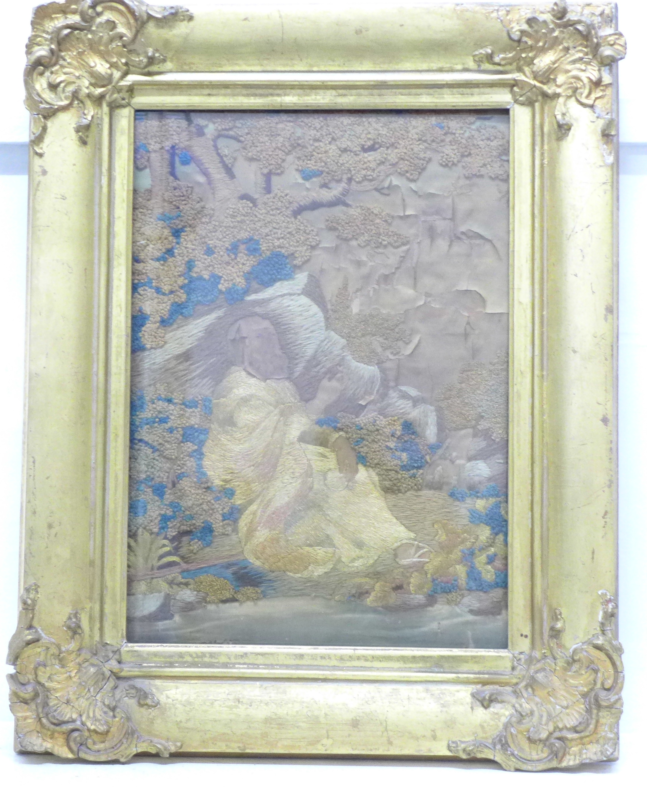 An early Victorian silk needlework picture, framed, a/f