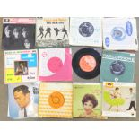 """Thirty-two 1960's 7"""" vinyl singles, pop music including The Beatles"""