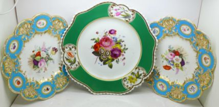 Three Victorian hand painted plates