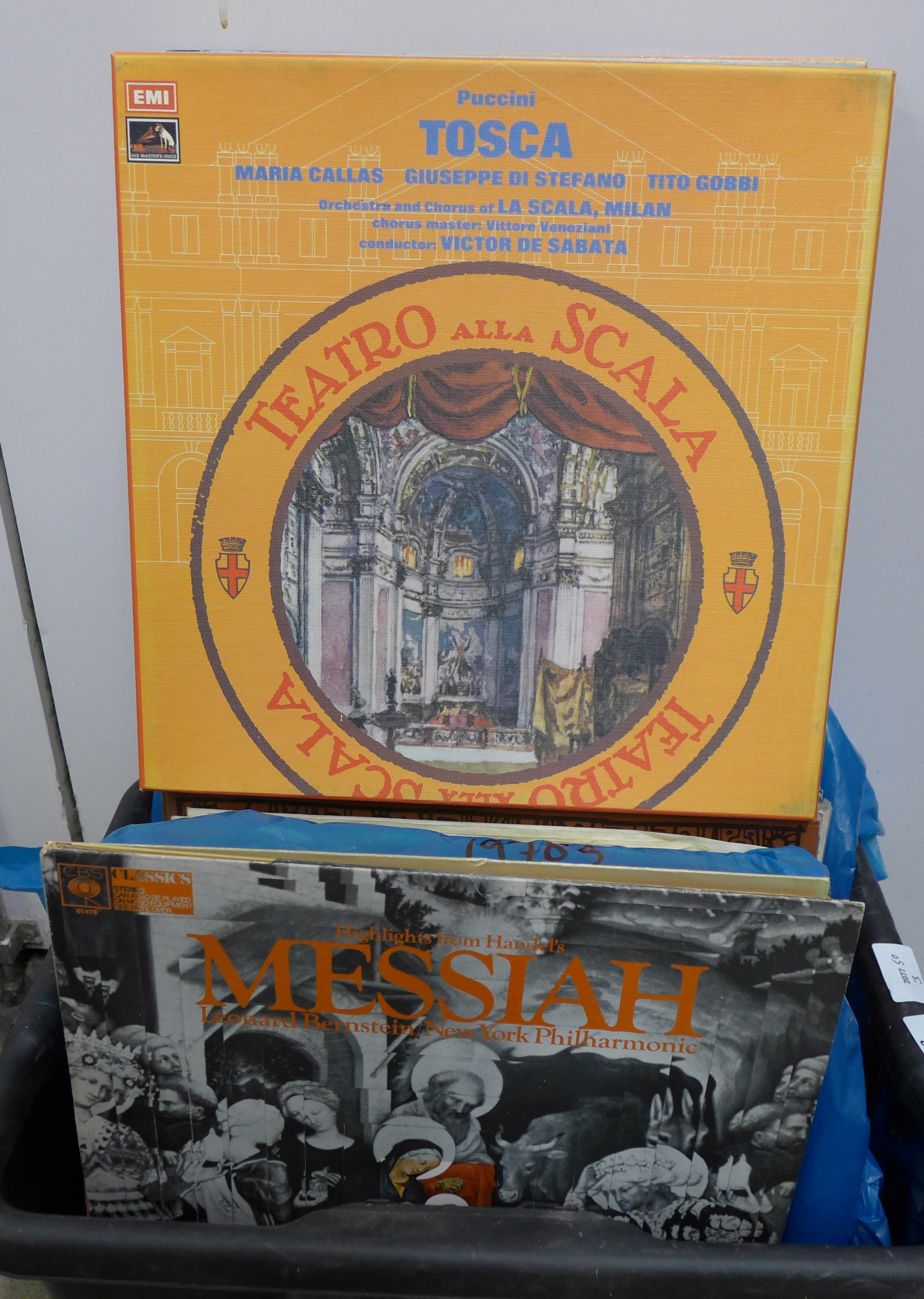 A box of LP records, Maria Callas, easy listening (Frank Sinatra, etc.) and classical **PLEASE