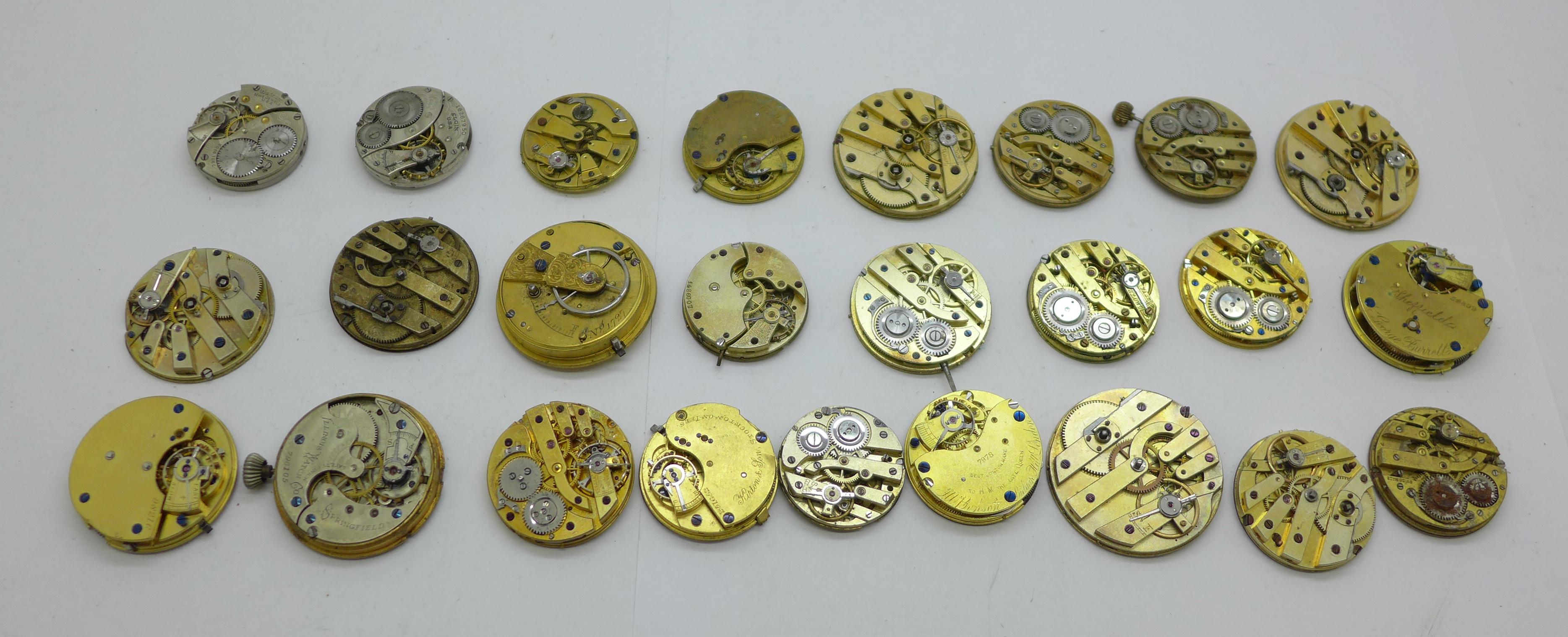 Twenty-five wristwatch, fob and pocket watch movements, Elgin, JW Benson, Waltham, etc. - Image 4 of 4