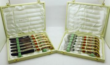 Two cased sets of Royal Crown Derby Imari pastry knives and forks, two fork handles a/f