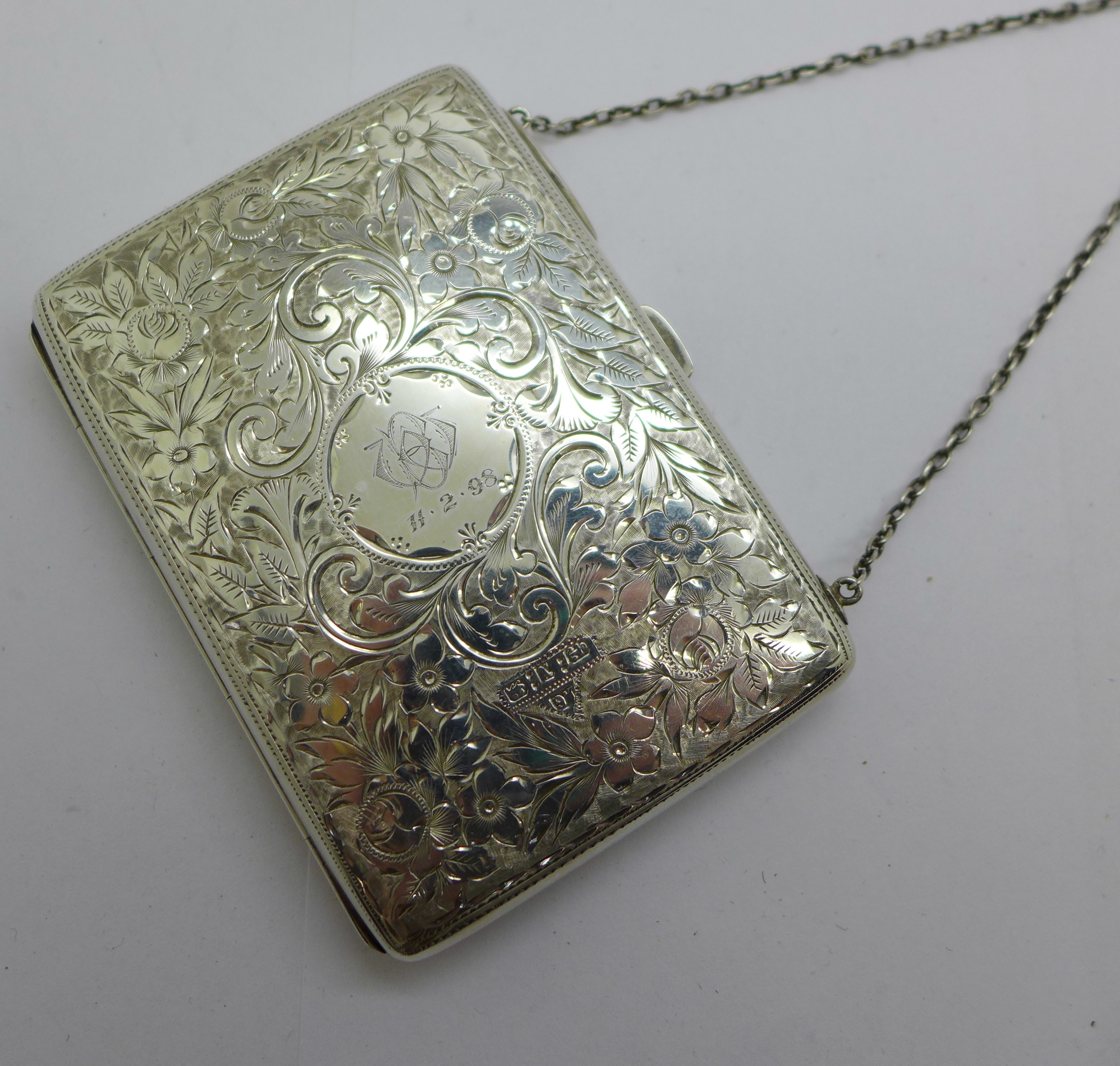 A late Victorian silver aide memoire purse, Joseph Gloster, Birmingham 1897, and a silver propelling - Image 2 of 4